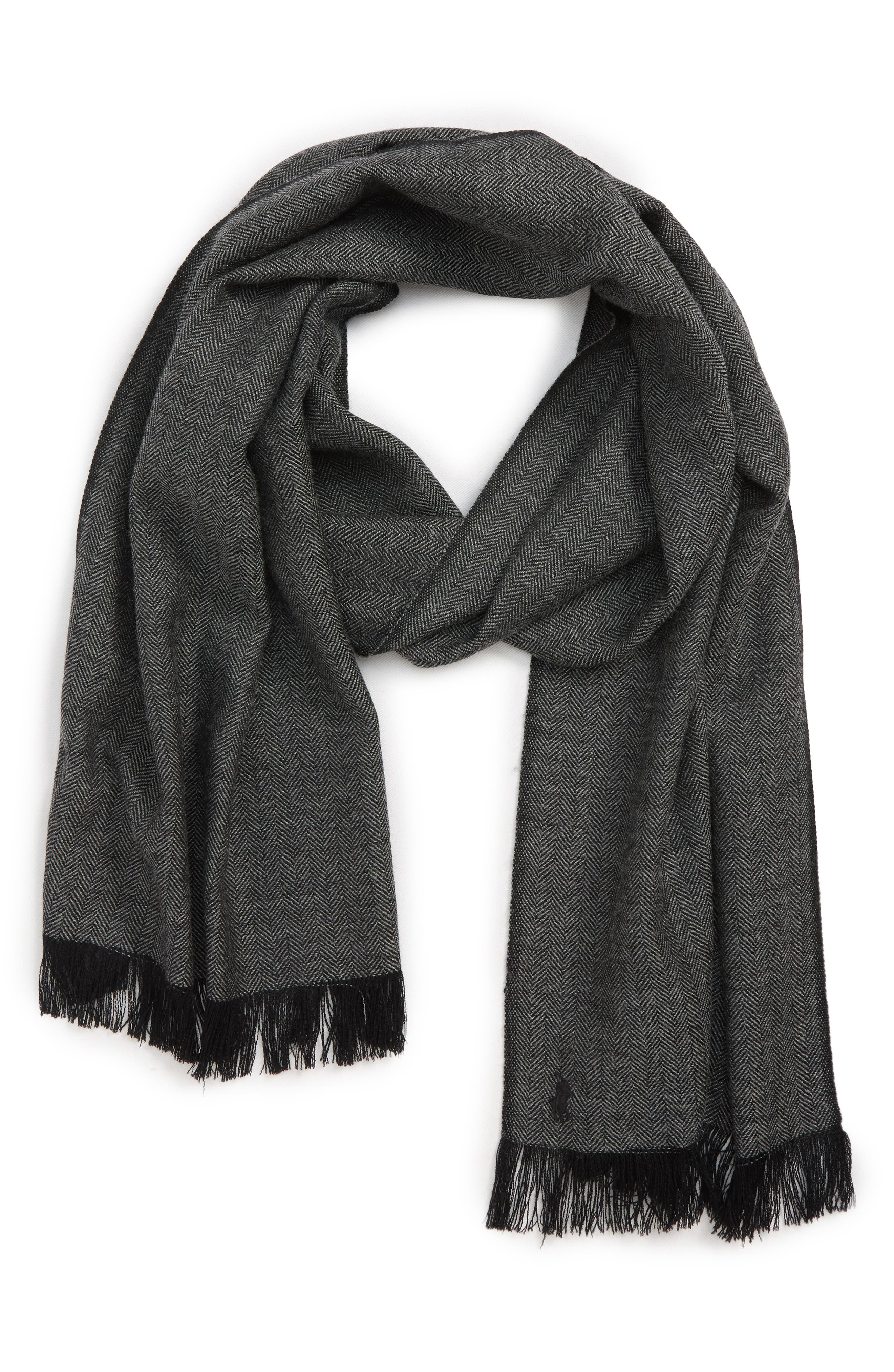Patterned Merino Wool Scarf,                             Main thumbnail 1, color,                             CHARCOAL/ BLACK