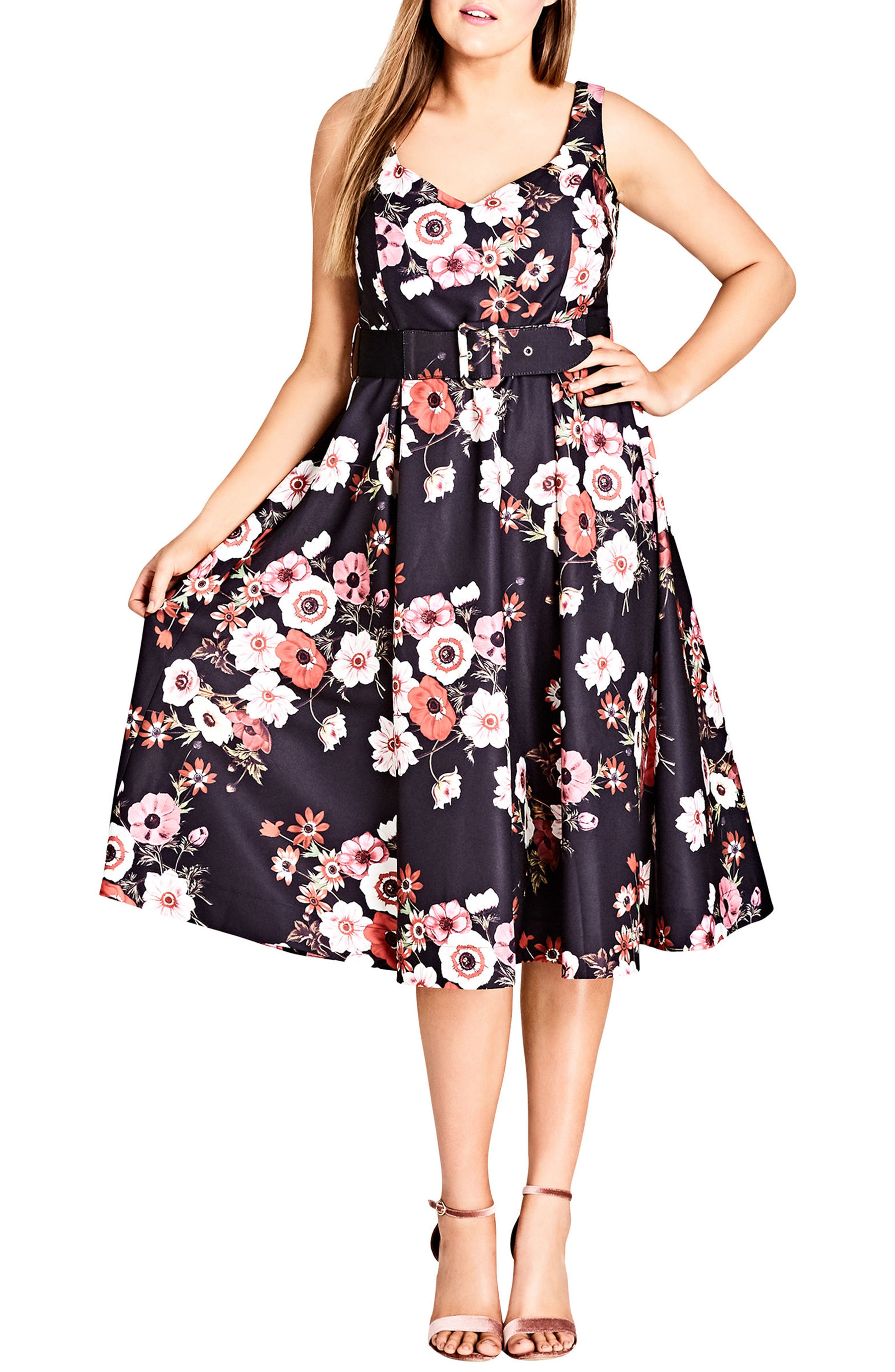 CITY CHIC,                             Poppy Bloom Fit & Flare Dress,                             Main thumbnail 1, color,                             001