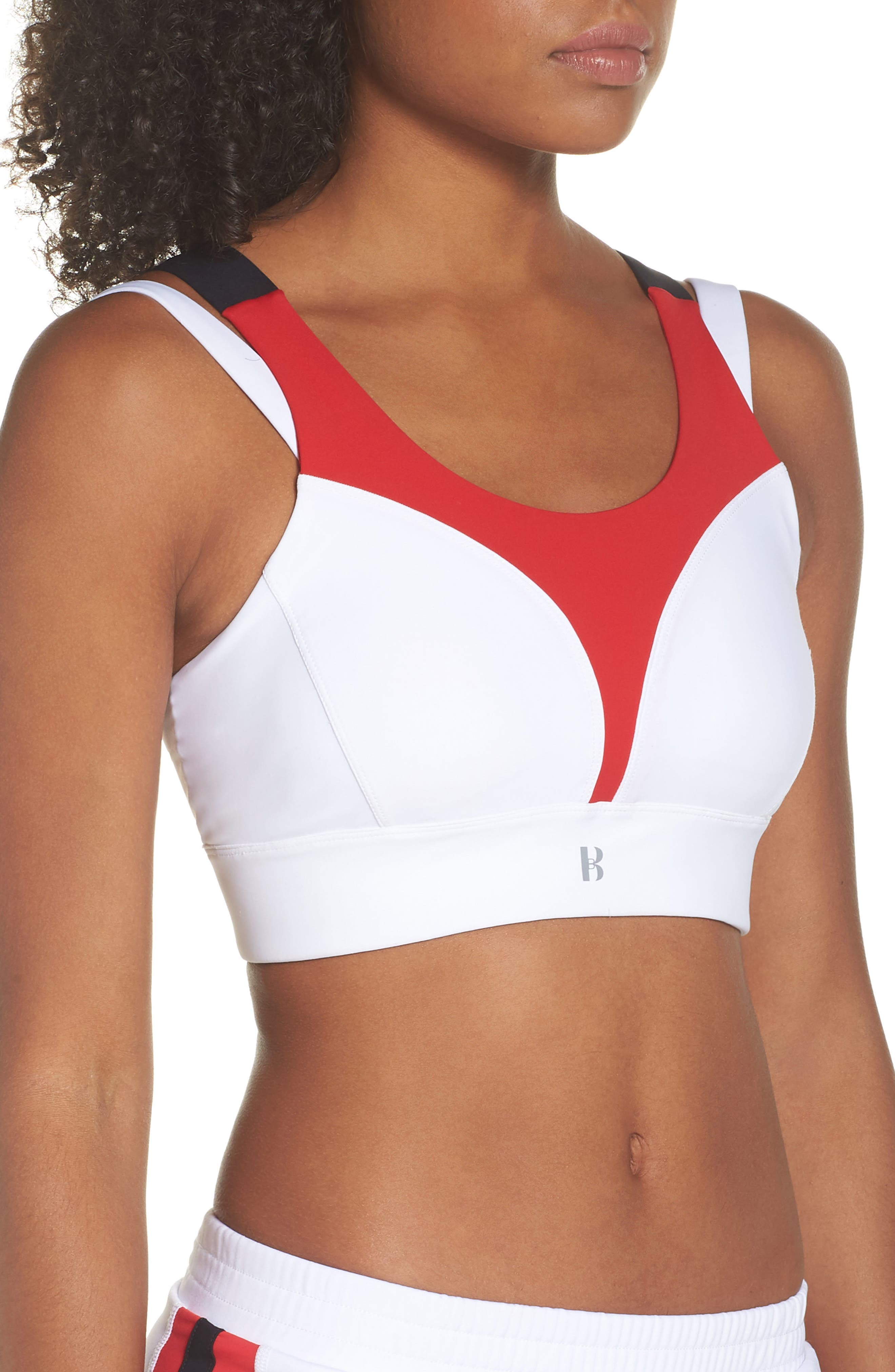 BoomBoom Athletica Compression Support Sports Bra,                             Alternate thumbnail 3, color,                             WHITE/ RED