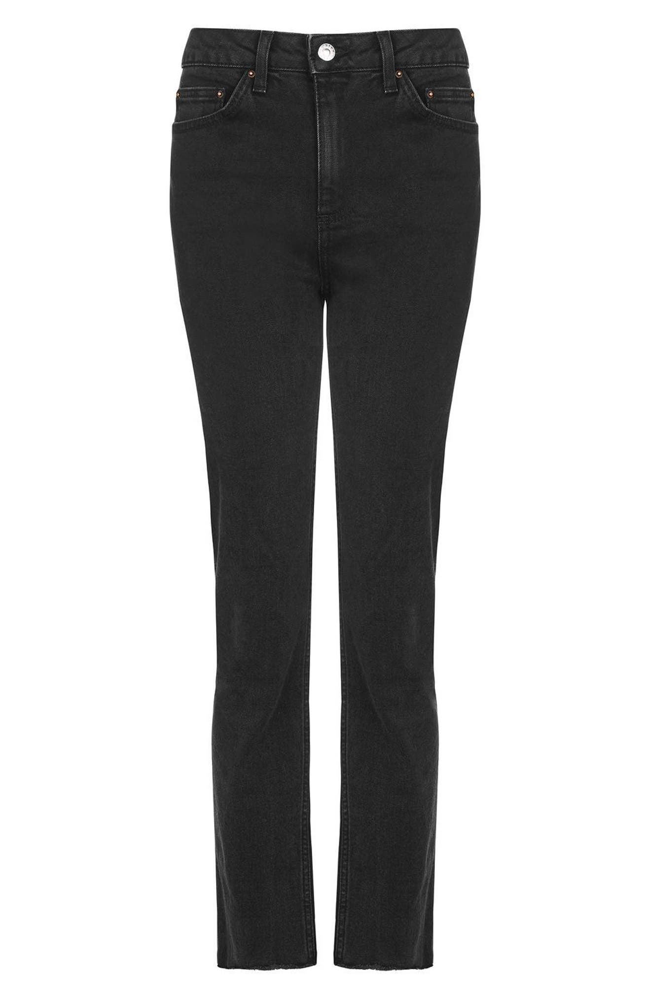 Raw Hem Straight Leg Jeans,                             Alternate thumbnail 2, color,                             001