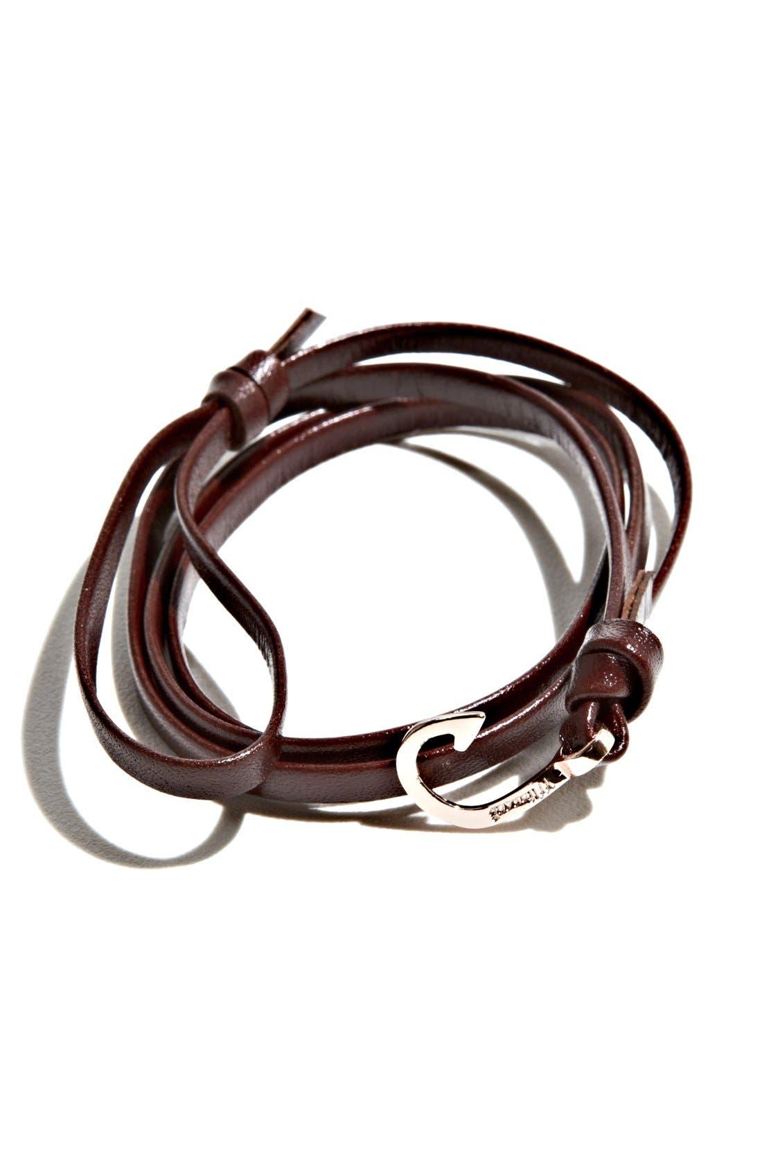 Rose Gold Mini Hook Leather Bracelet,                         Main,                         color,
