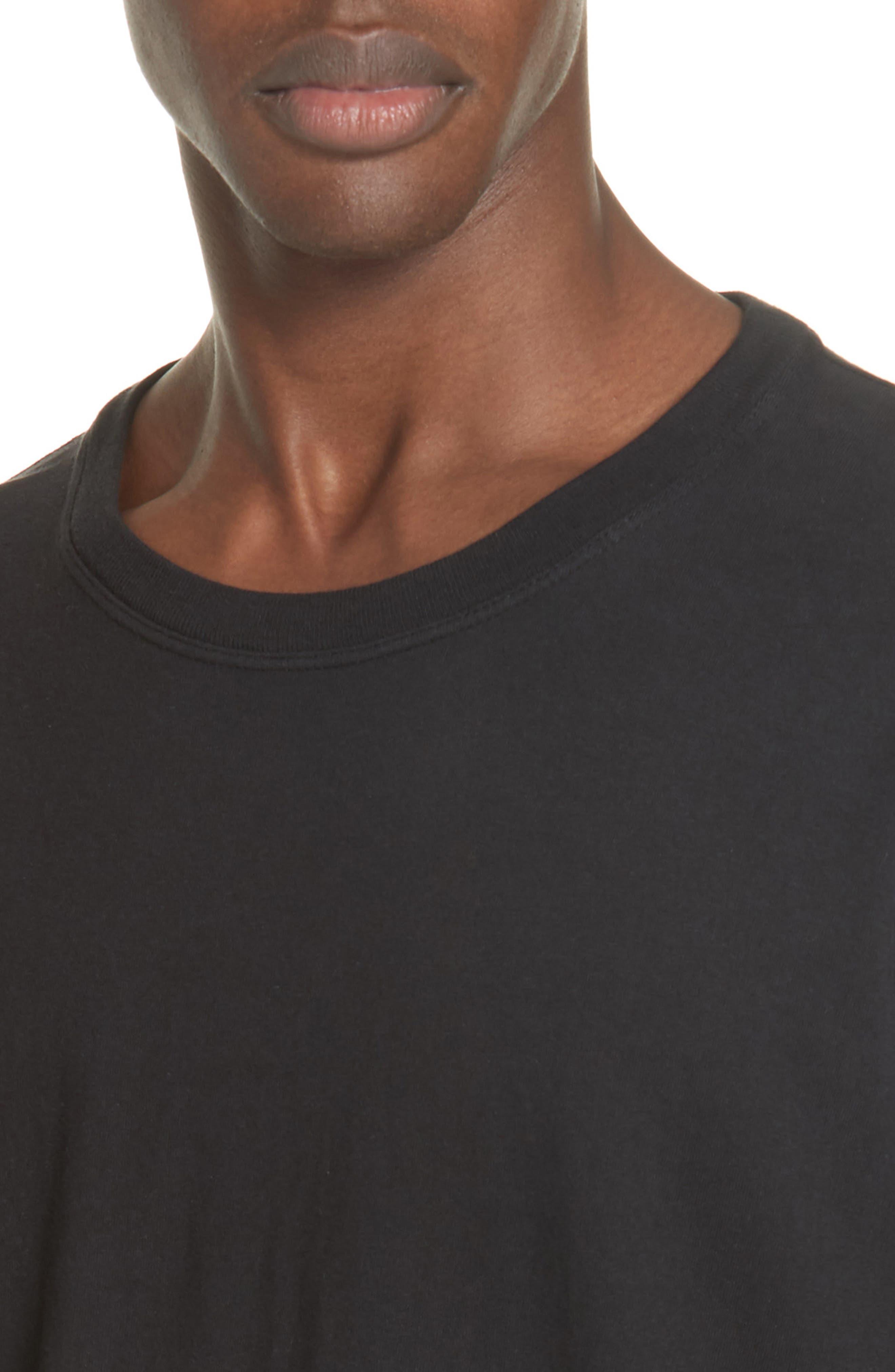 Long Sleeve Crewneck T-Shirt,                             Alternate thumbnail 4, color,                             BLACK
