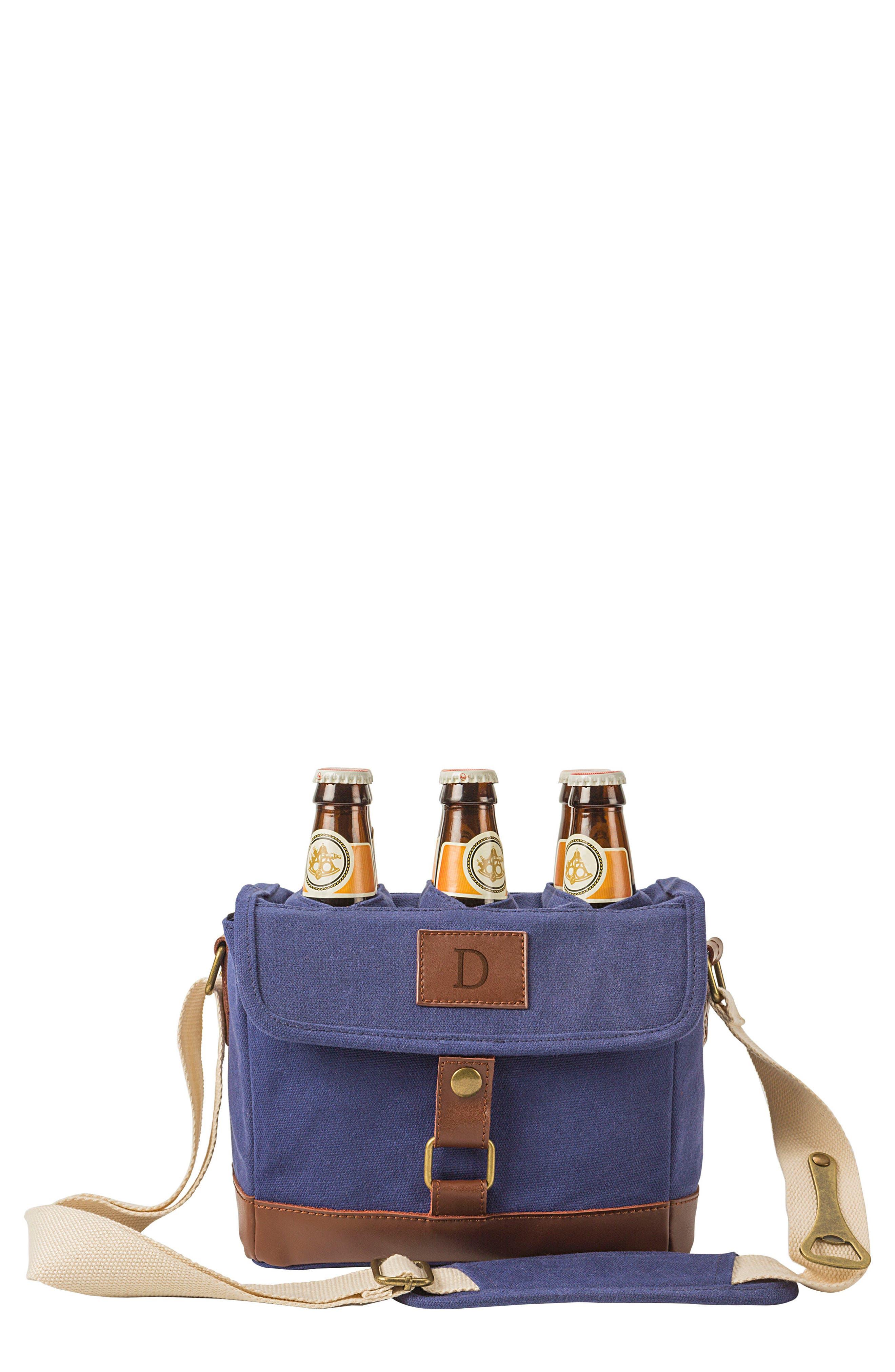 Monogram 6-Bottle Beer Cooler,                         Main,                         color, BLUE-D