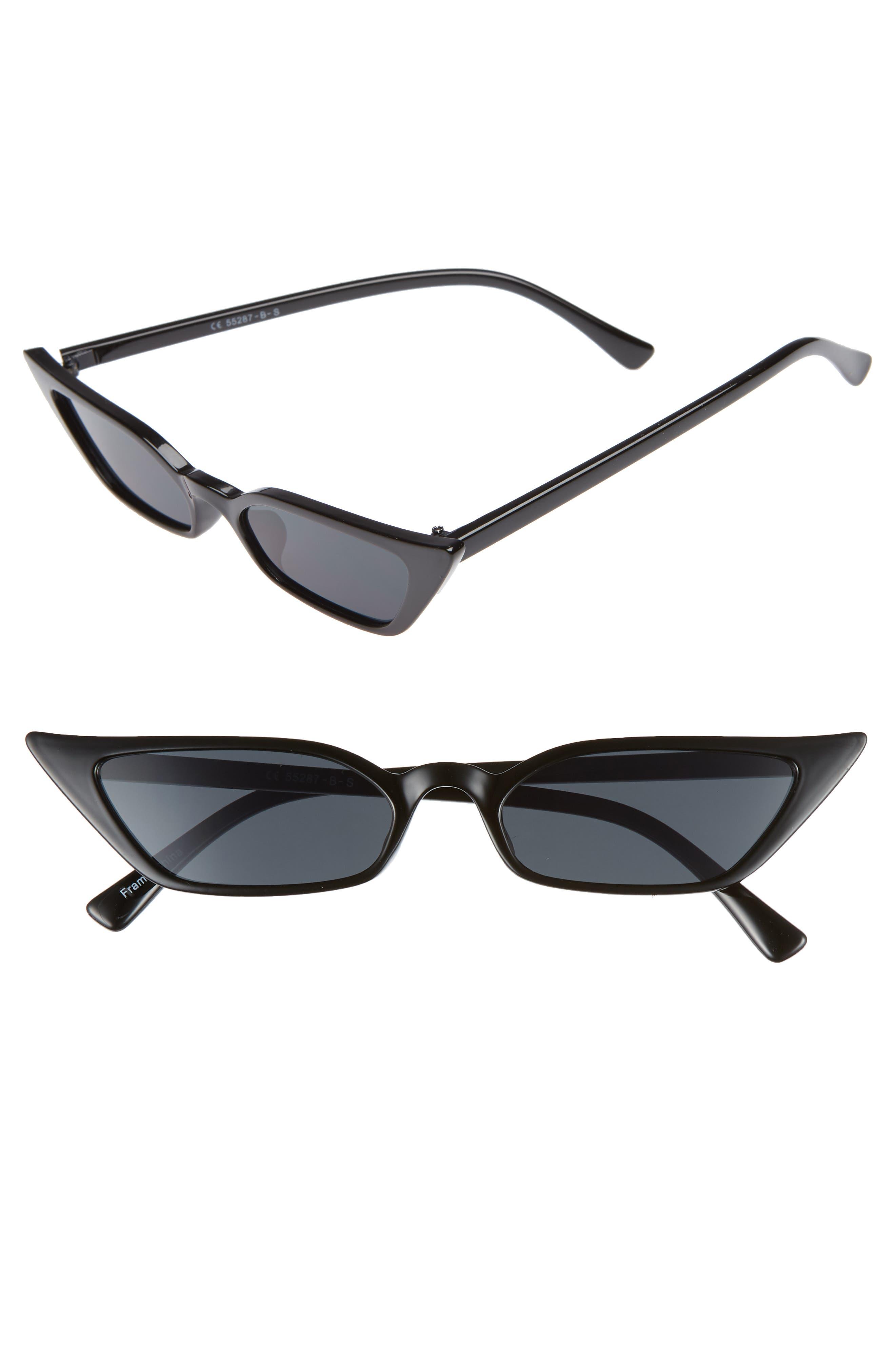 52mm Cat Eye Sunglasses,                         Main,                         color, BLACK/ SMOKE LENS