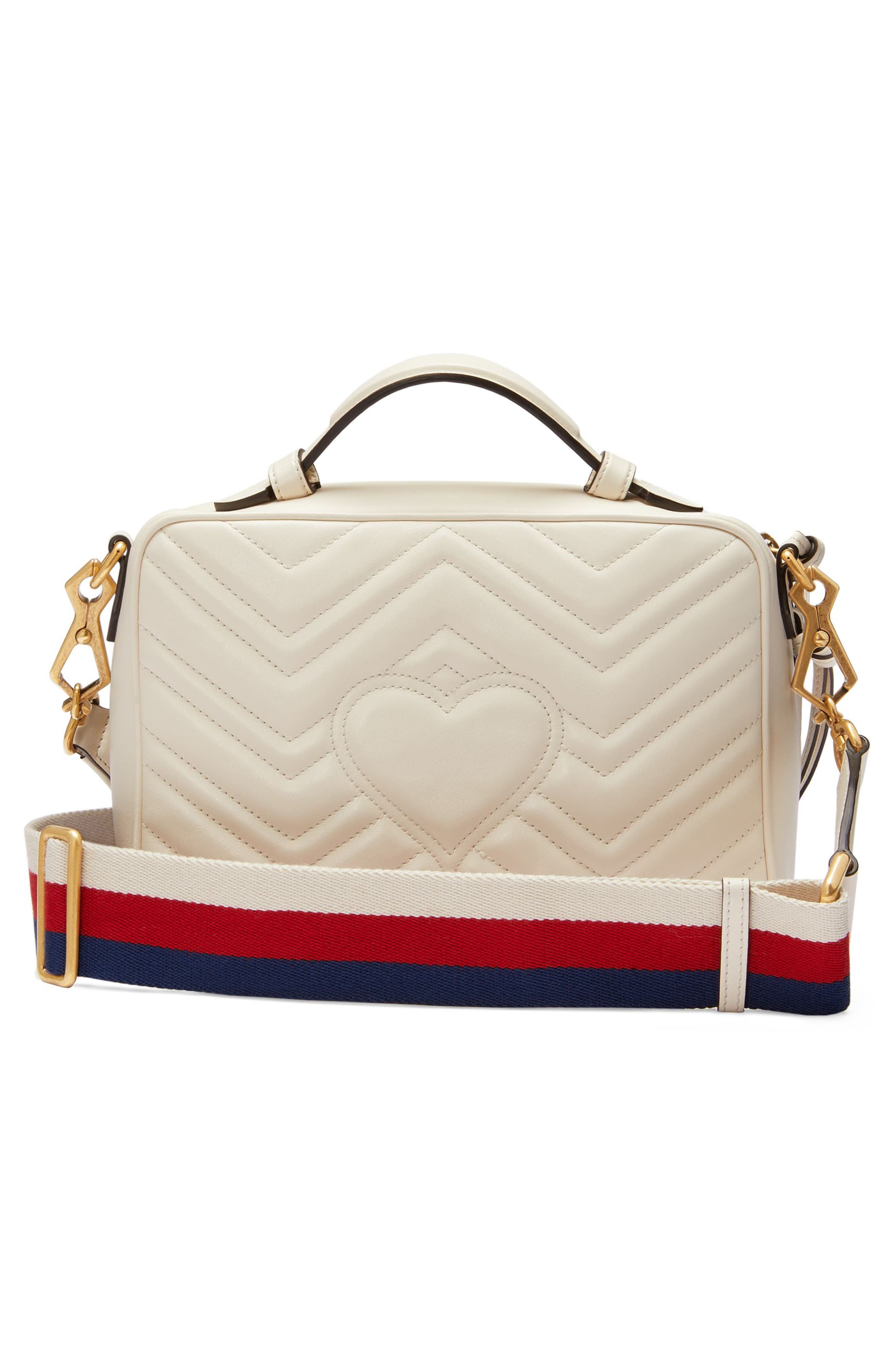 Small GG Marmont 2.0 Matelassé Leather Camera Bag with Webbed Strap,                             Alternate thumbnail 2, color,                             MYSTIC WHITE/ HIBISCUS RED