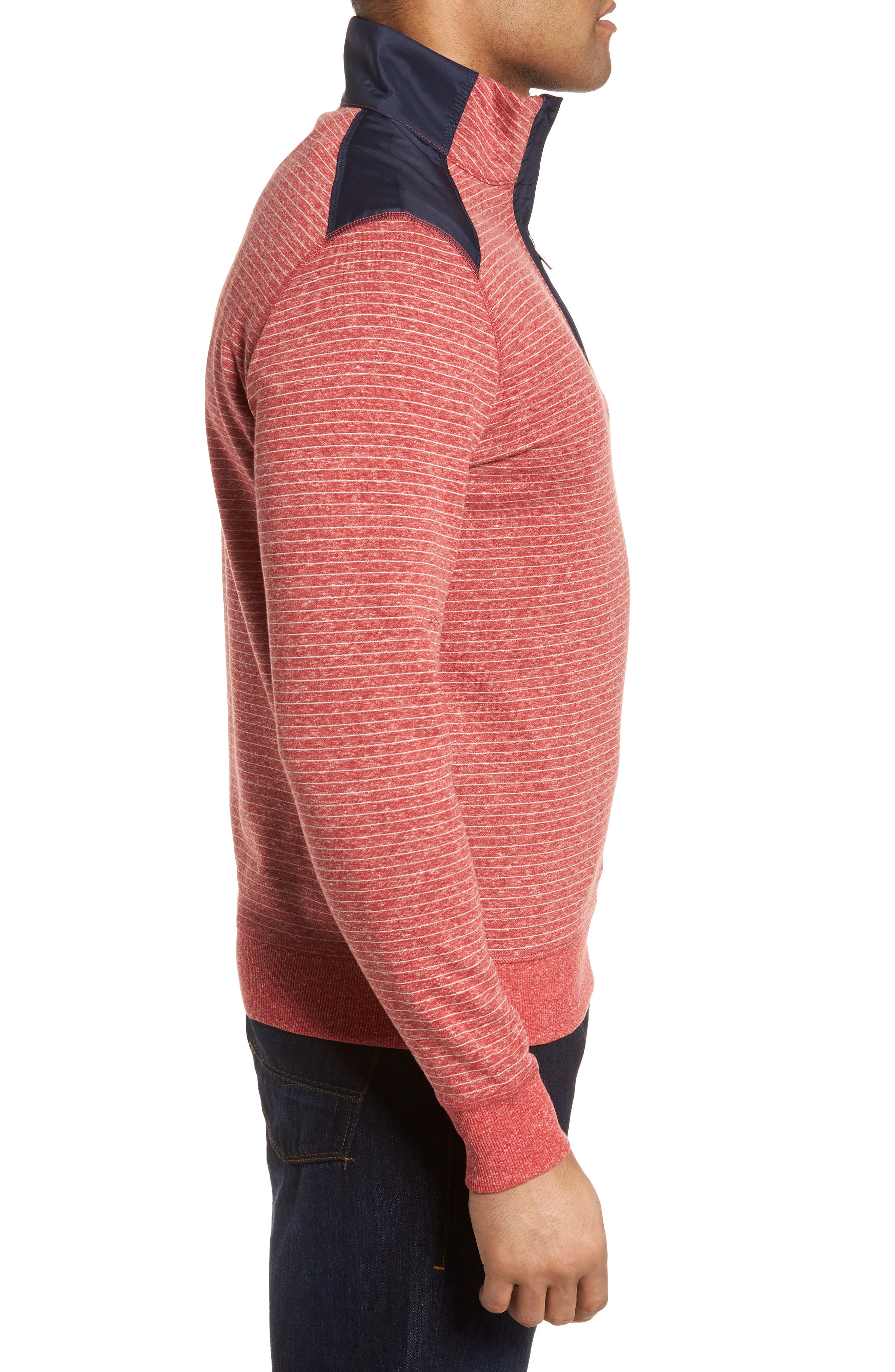 Regular Fit Stripe Quarter Zip Pullover,                             Alternate thumbnail 15, color,