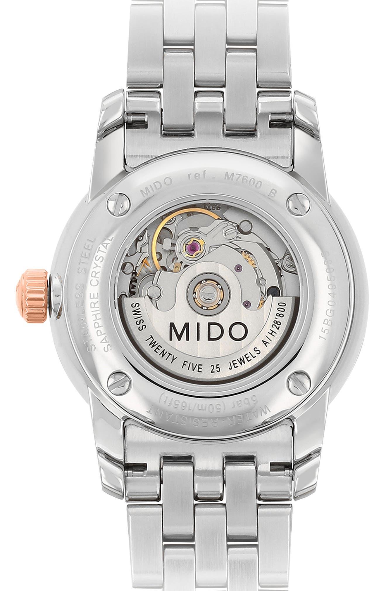 Baroncelli Diamond Bracelet Watch, 29mm,                             Alternate thumbnail 2, color,                             SILVER/ MOP/ ROSE GOLD
