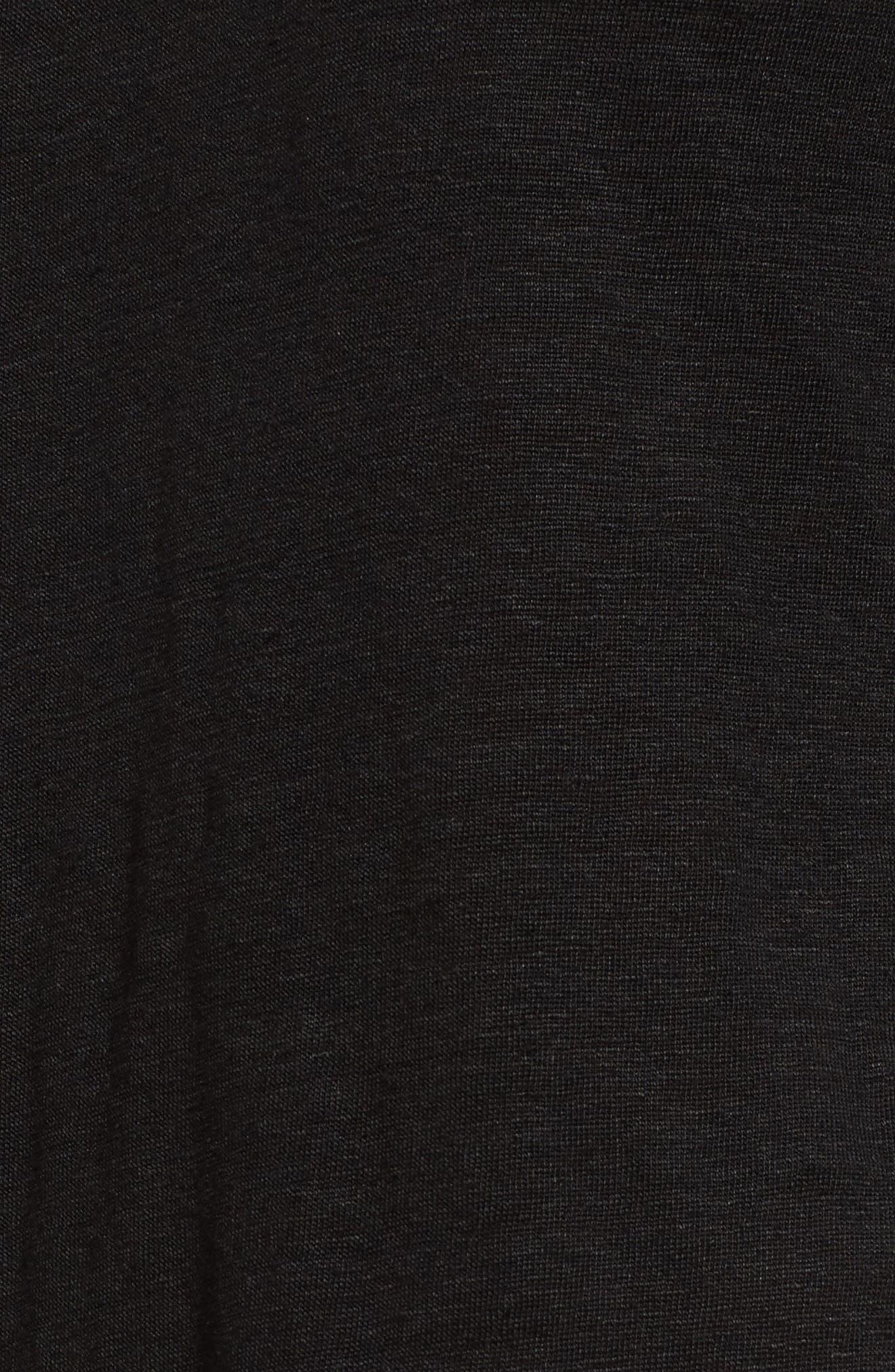 Sylvie Tiered Hem Linen Tee,                             Alternate thumbnail 5, color,                             BLACK