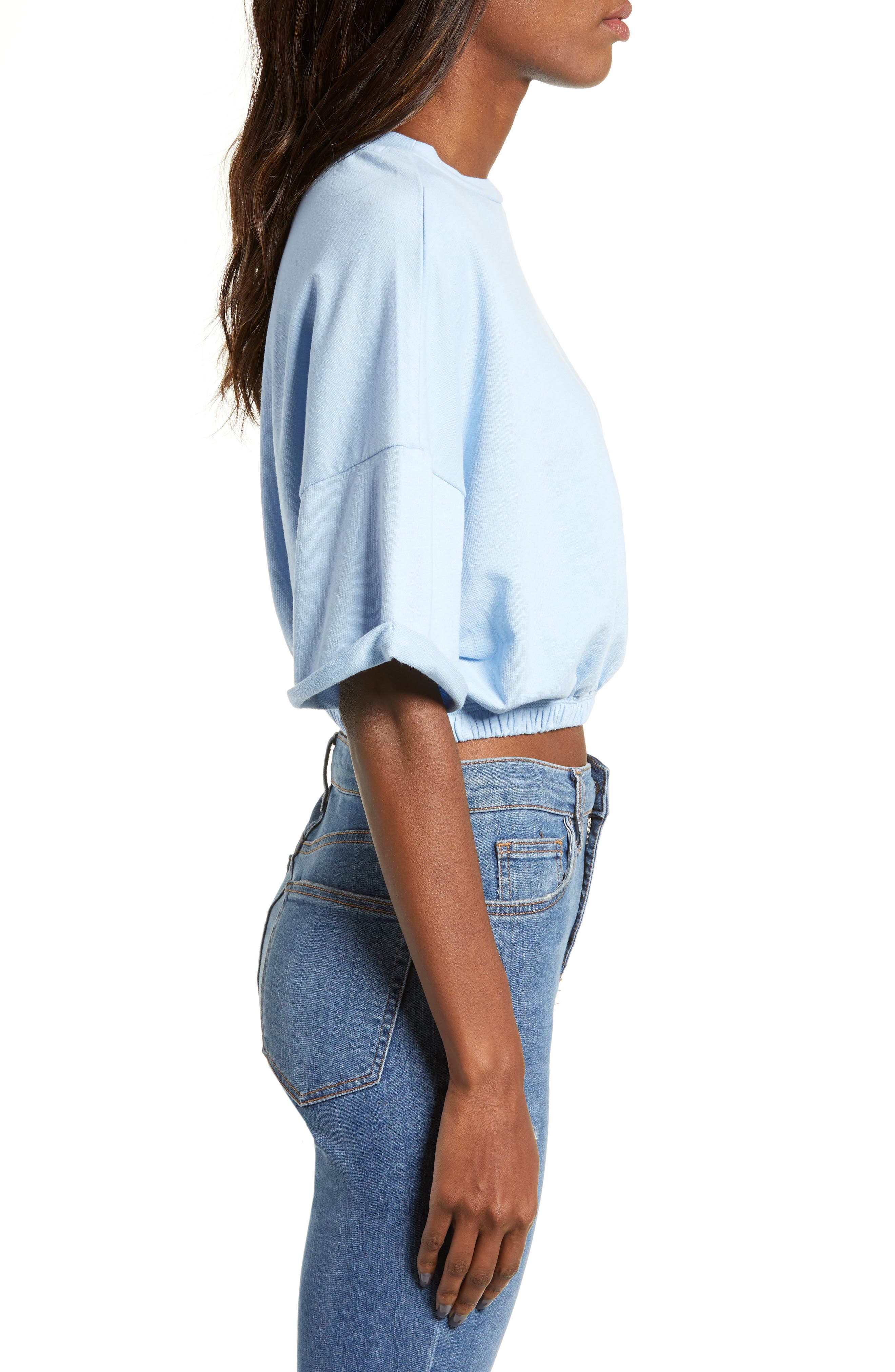 BP.,                             Vintage Wash Crop Short Sleeve Sweatshirt,                             Alternate thumbnail 3, color,                             BLUE PLACID