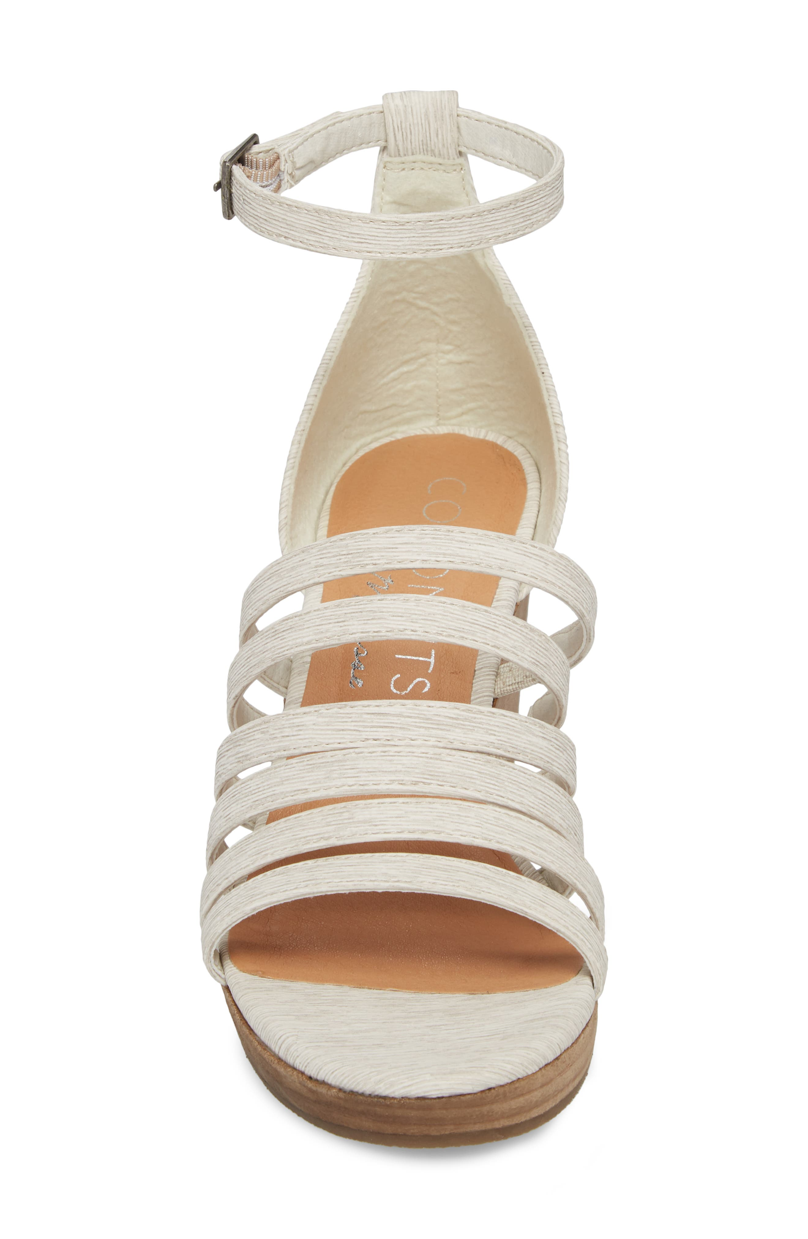 Kiera Wedge Sandal,                             Alternate thumbnail 4, color,                             NATURAL FABRIC