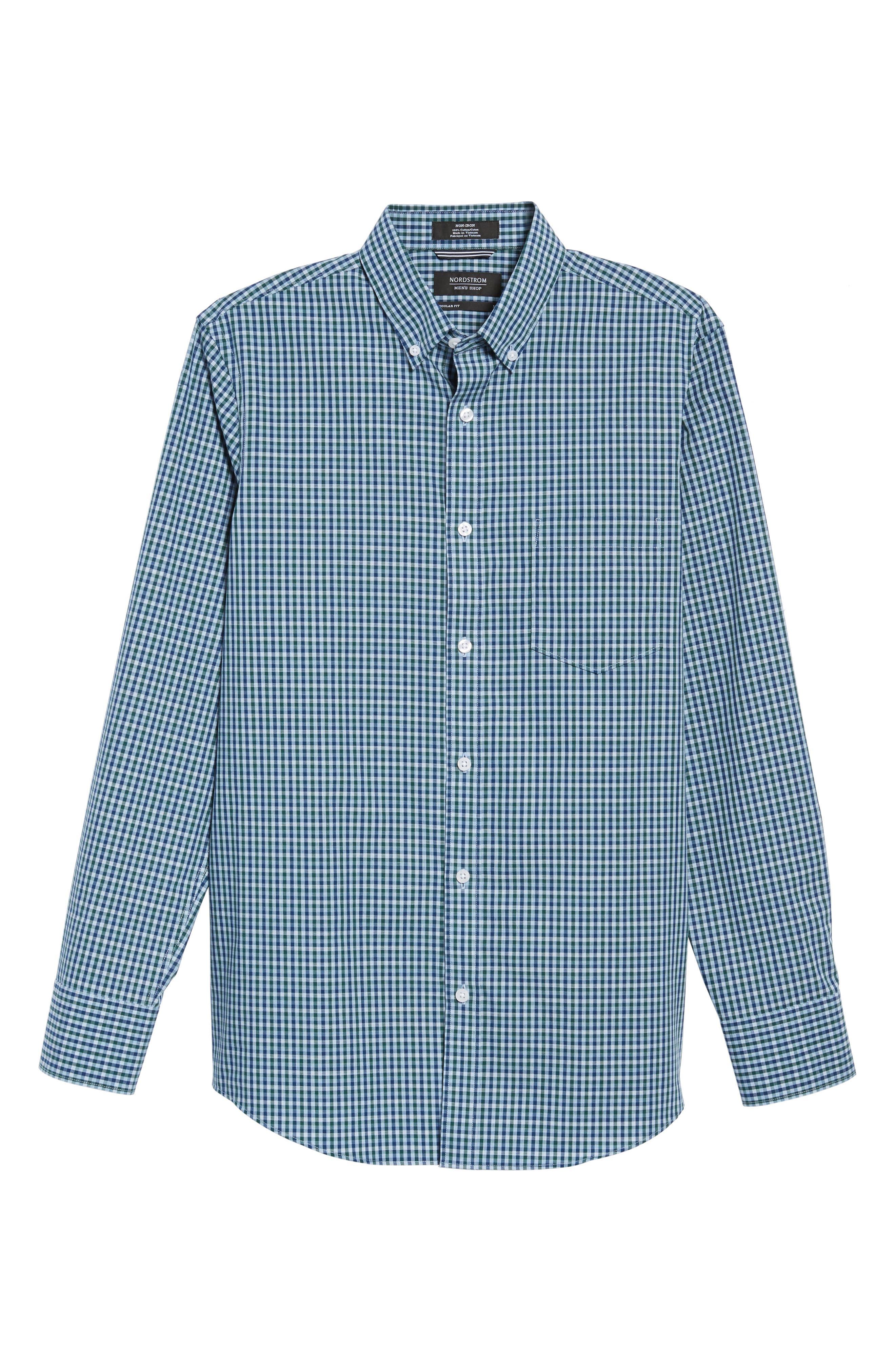 Regular Fit Non-Iron Mini Check Sport Shirt,                             Alternate thumbnail 6, color,                             310