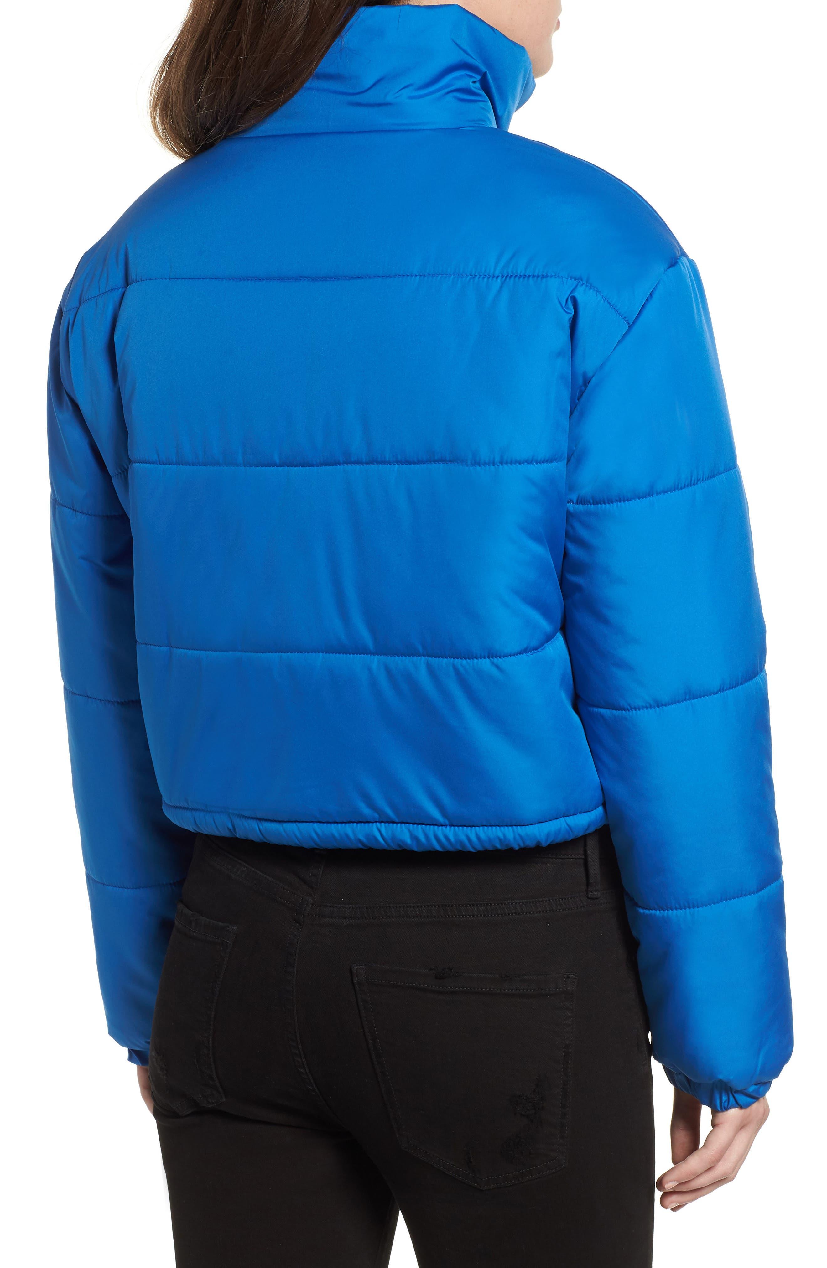 Crop Puffer Jacket,                             Alternate thumbnail 3, color,                             BLUE BOAT