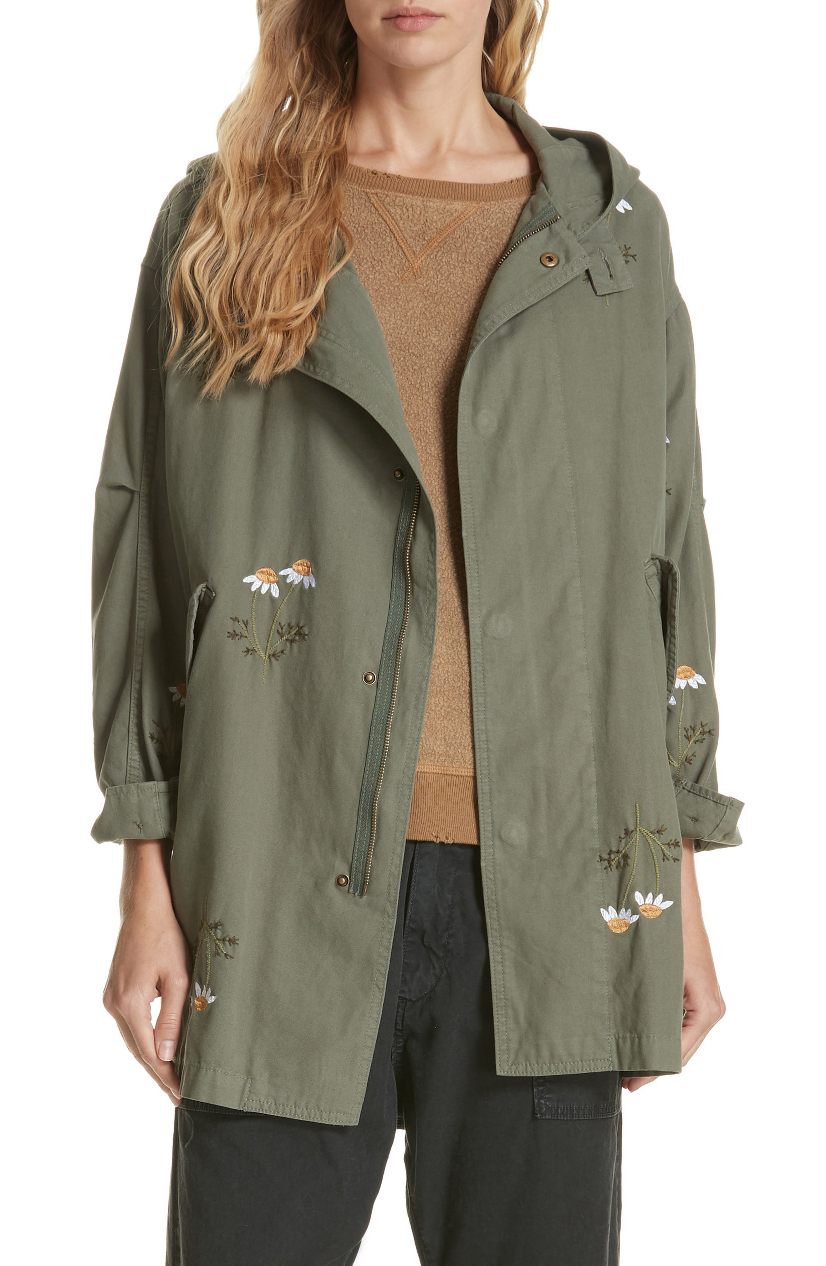 Embroidered Military Parka,                         Main,                         color, ARMY GREEN W/ DAISY