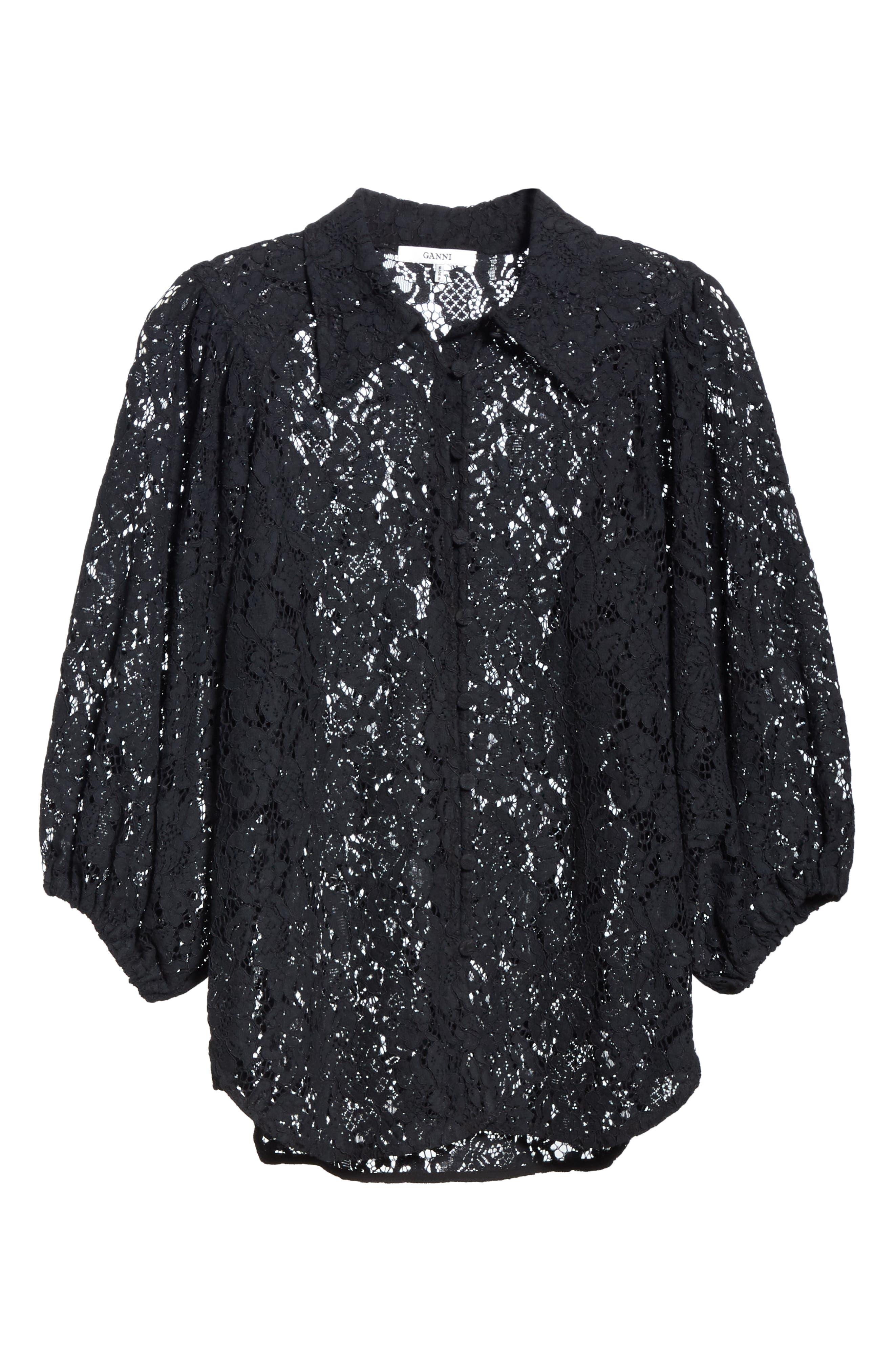 Cotton Blend Lace Top,                             Alternate thumbnail 6, color,                             BLACK 099