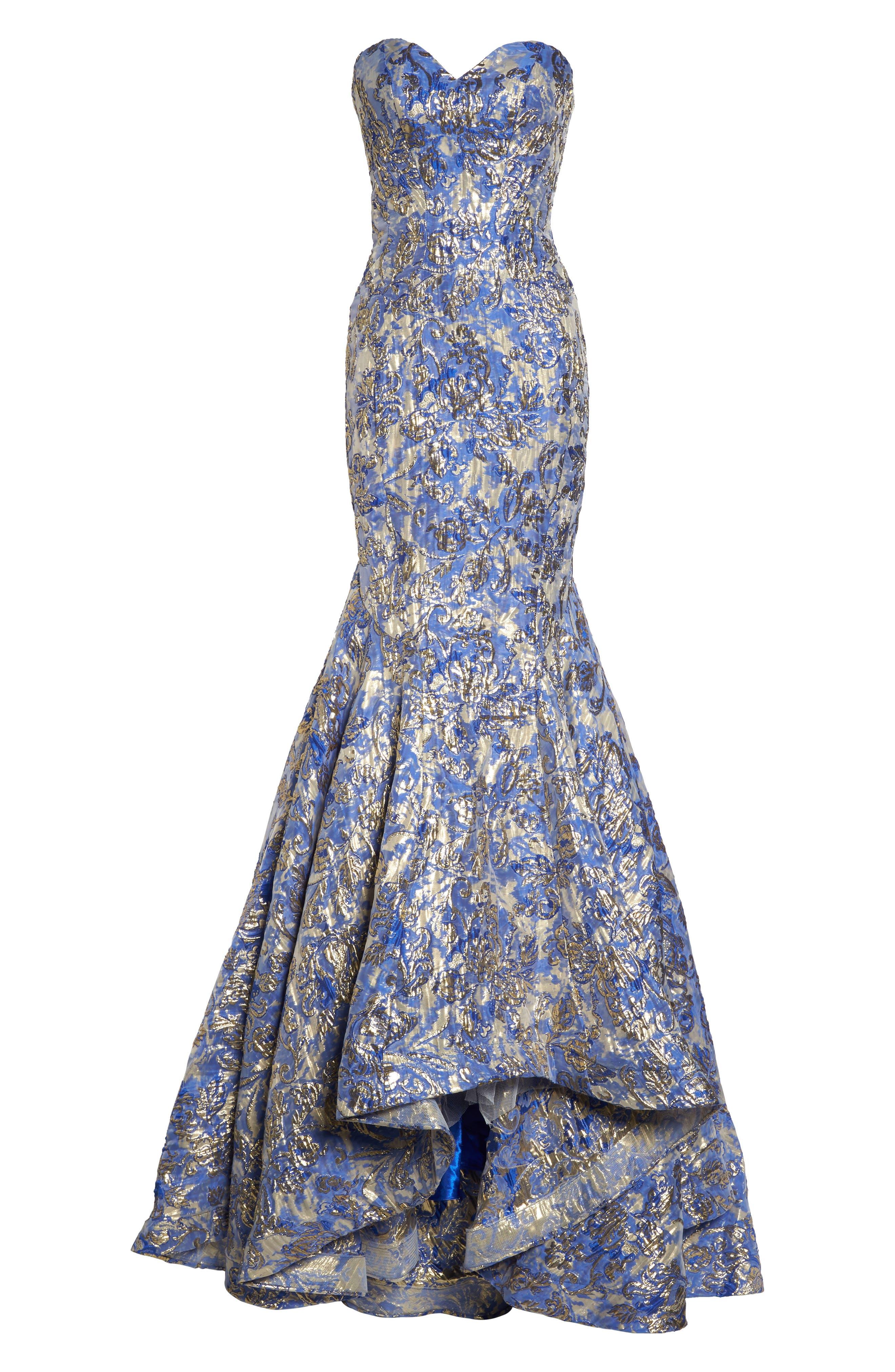 Metallic Jacquard Mermaid Gown,                             Alternate thumbnail 6, color,                             BLUE/GOLD