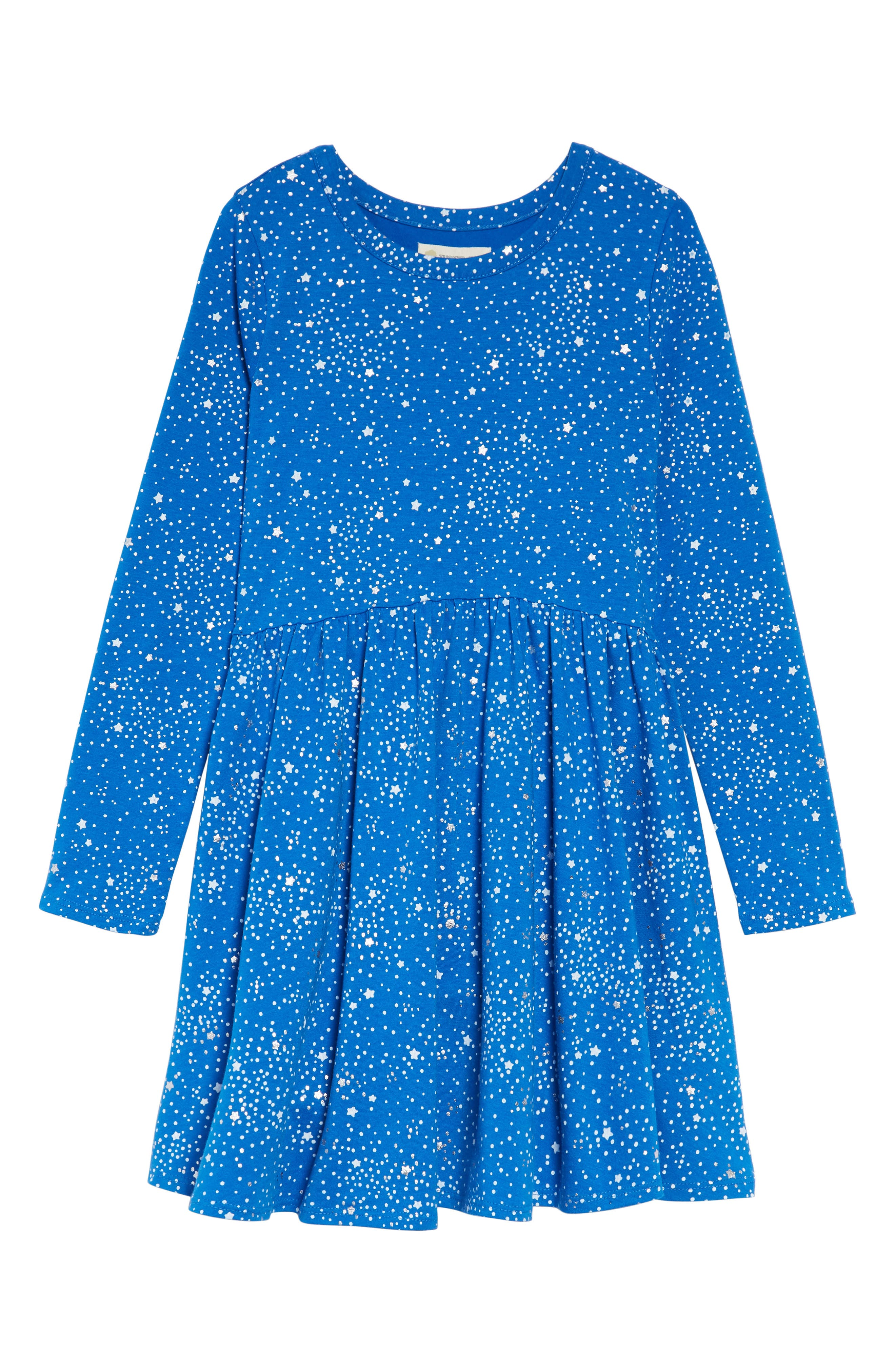 Print Knit Dress,                             Main thumbnail 1, color,                             BLUE PRINCESS SPOTS AND STARS