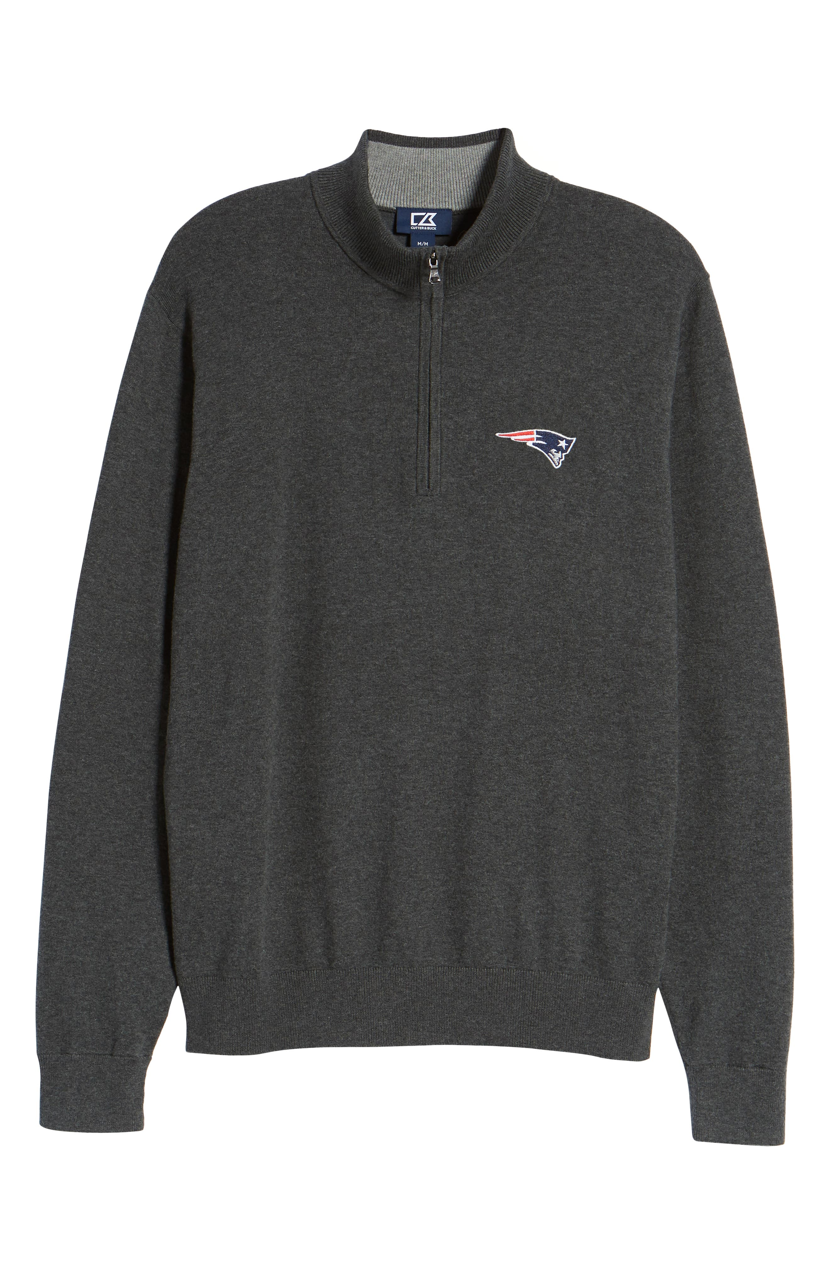 New England Patriots - Lakemont Regular Fit Quarter Zip Sweater,                             Alternate thumbnail 6, color,                             CHARCOAL HEATHER