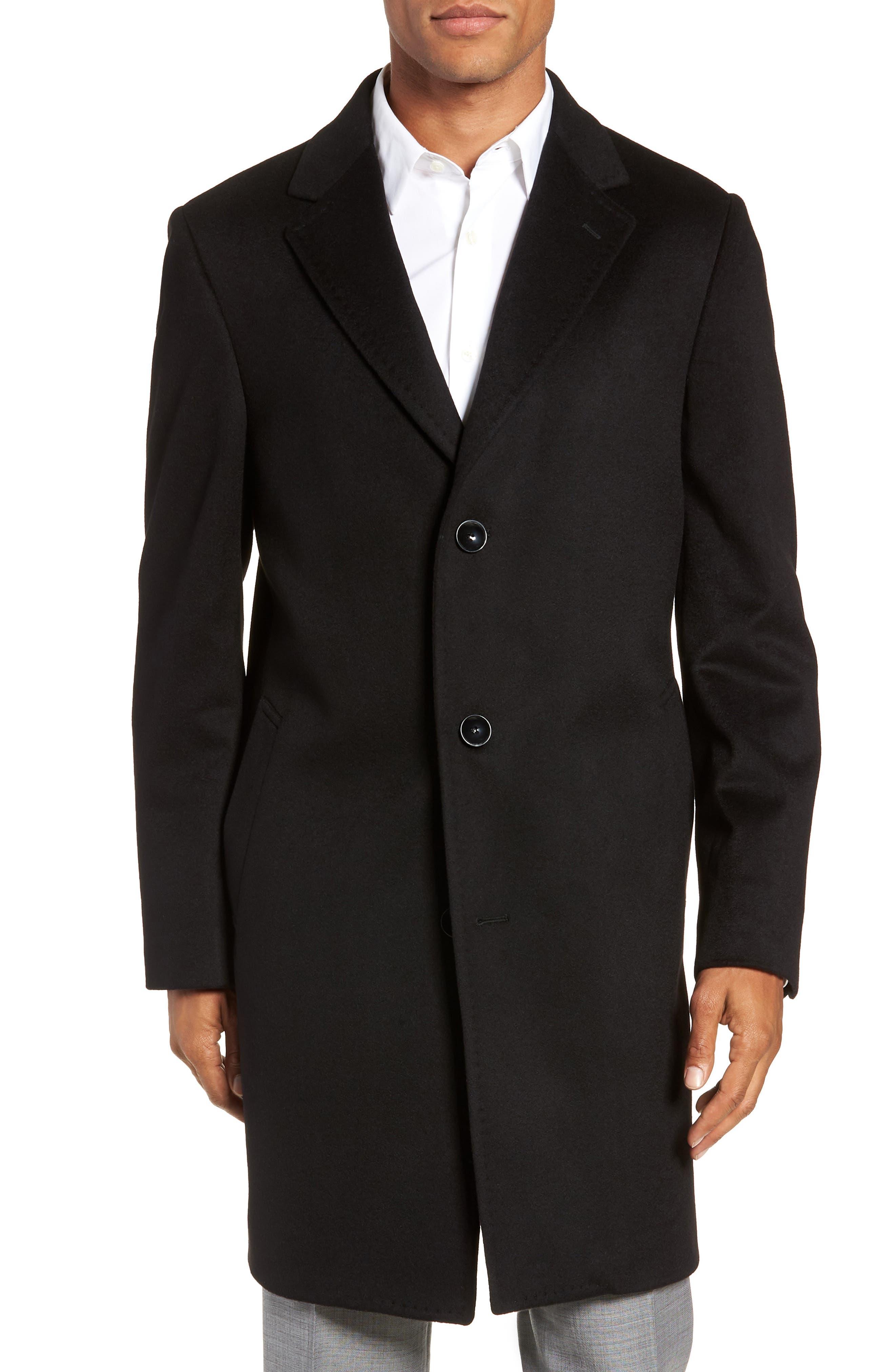 Darien Solid Cashmere Overcoat,                             Main thumbnail 1, color,                             BLACK