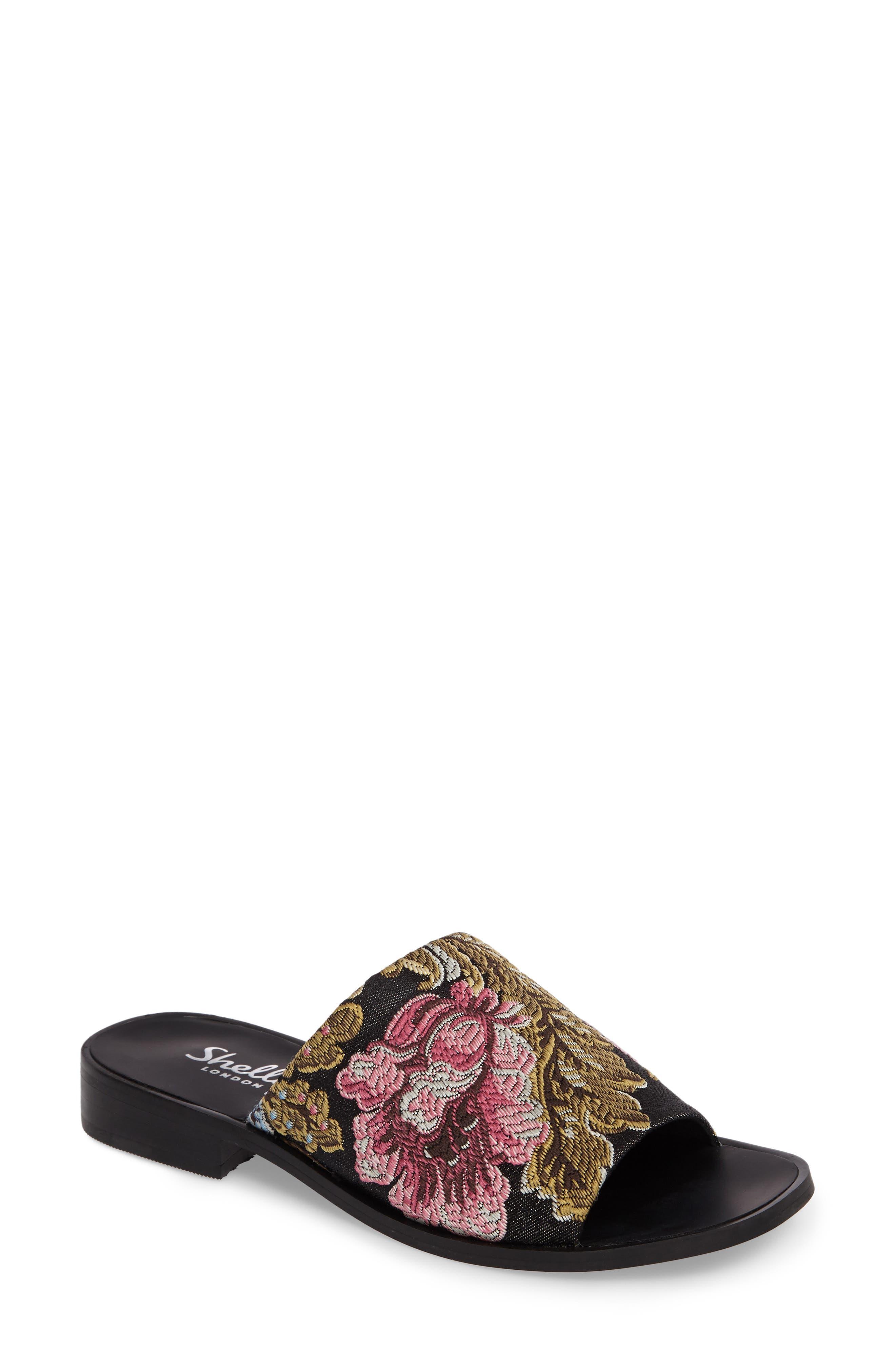 Enya Brocade Slide Sandal,                             Main thumbnail 1, color,                             001