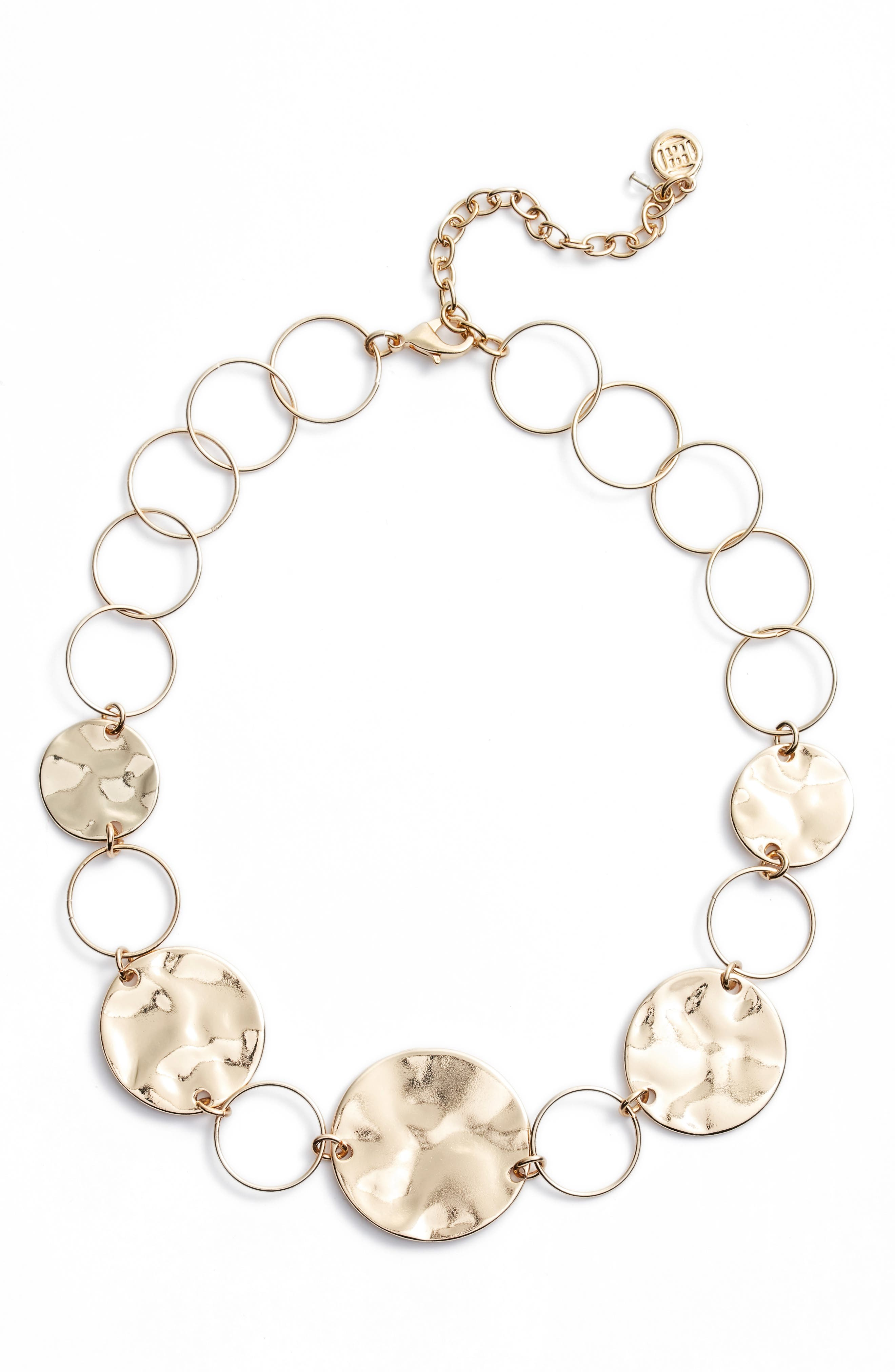 AREA STARS Hammered Disc Necklace in Gold
