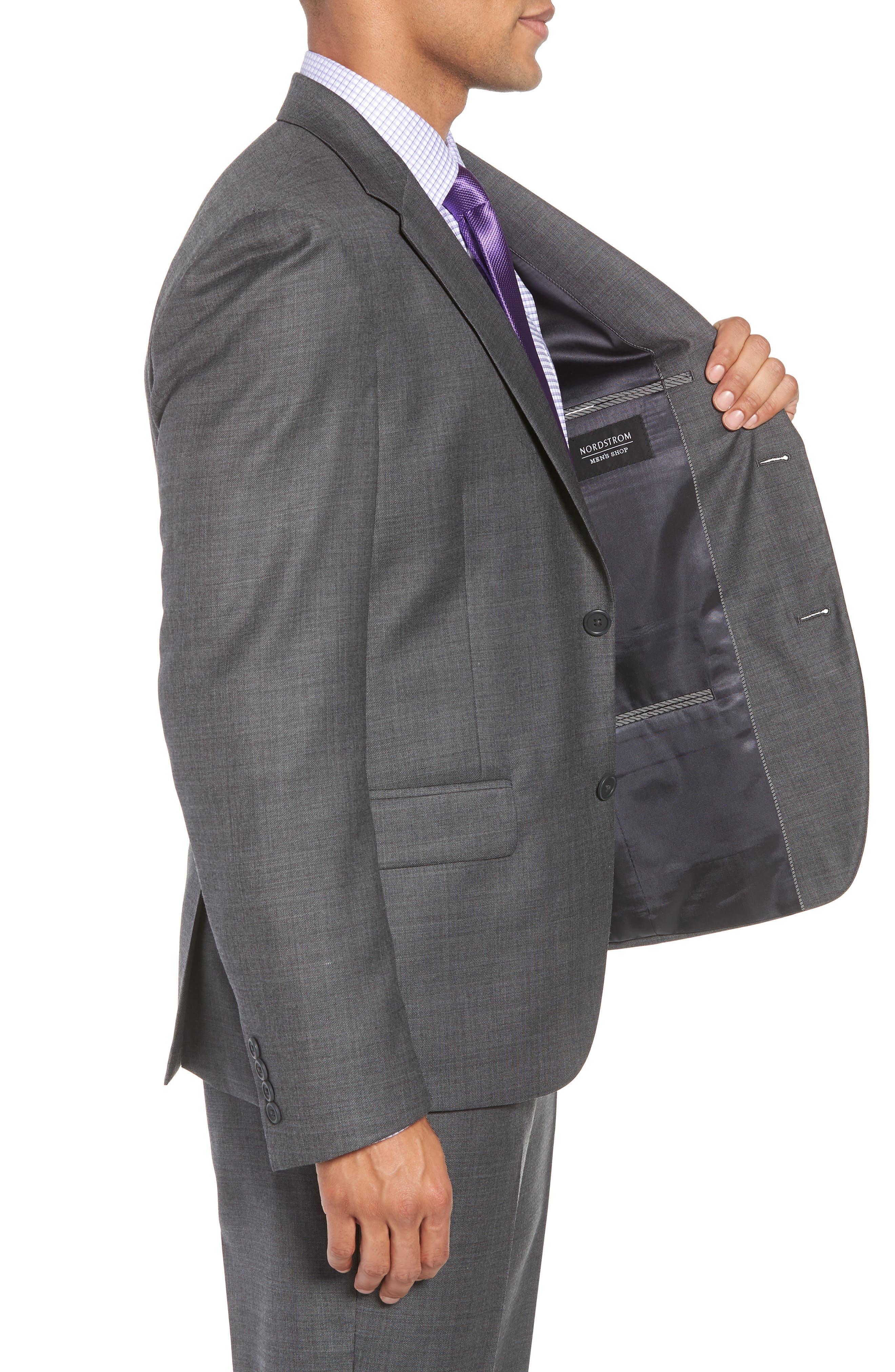 Trim Fit Sharkskin Wool Suit,                             Alternate thumbnail 4, color,                             MID GREY
