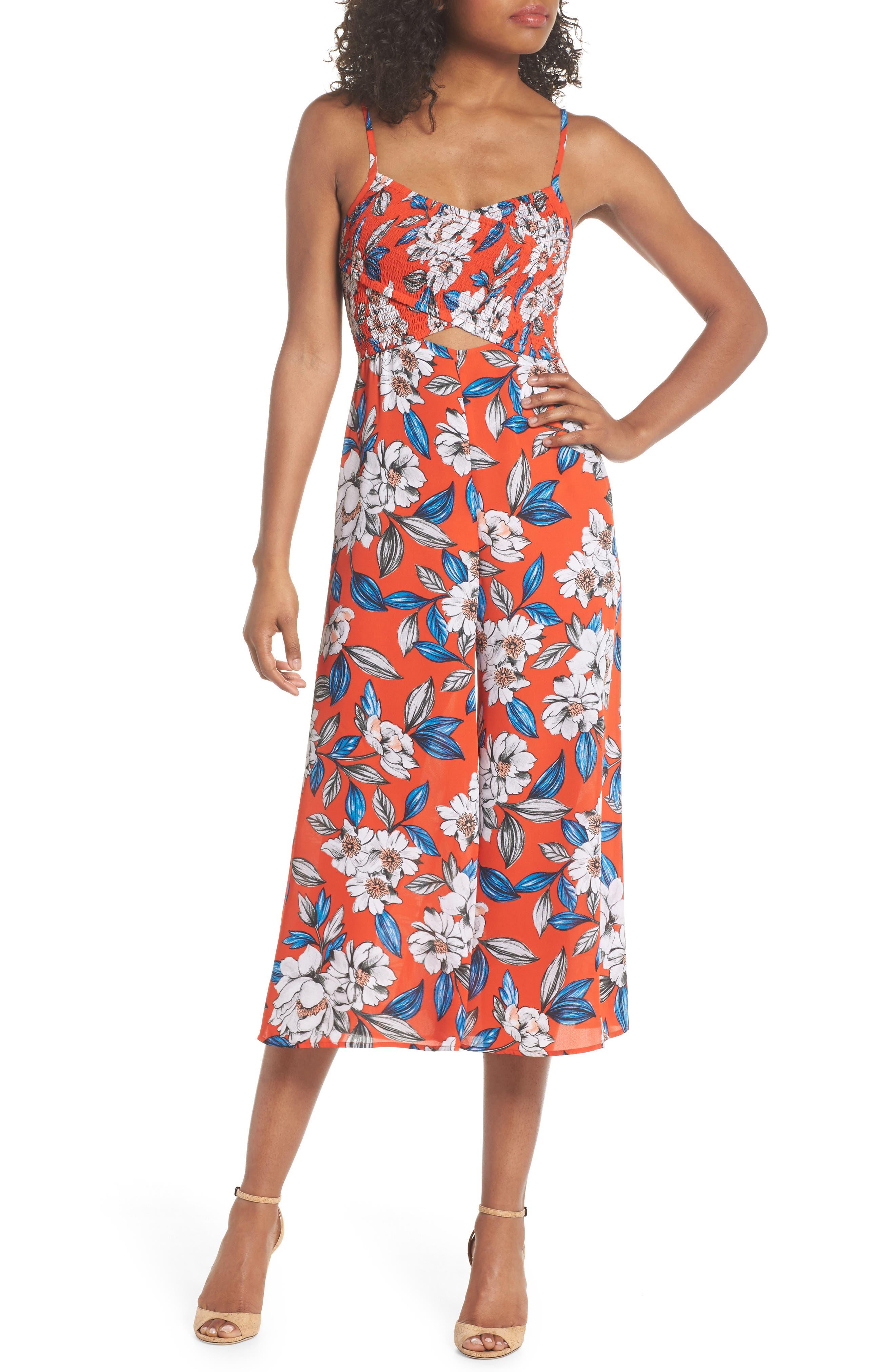 Full Bloom Cutout Floral Jumpsuit,                         Main,                         color, 619