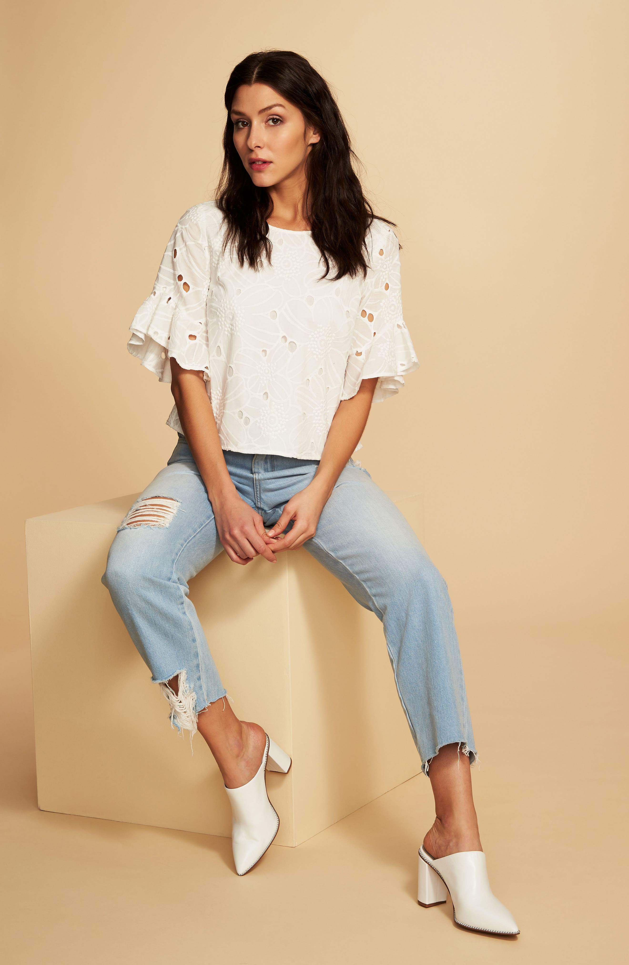 Embroidered Ruffle Eyelet Top,                             Alternate thumbnail 4, color,                             903