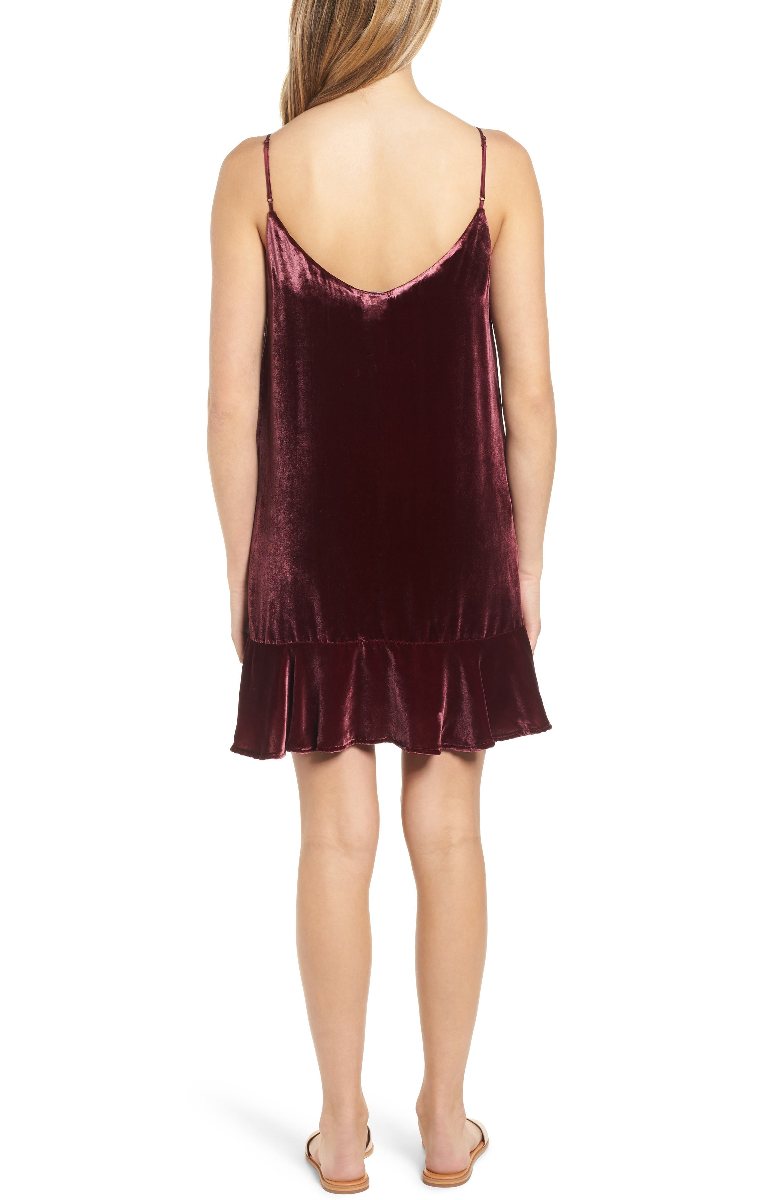 Audrina Velvet Slipdress,                             Alternate thumbnail 2, color,                             ROUGE