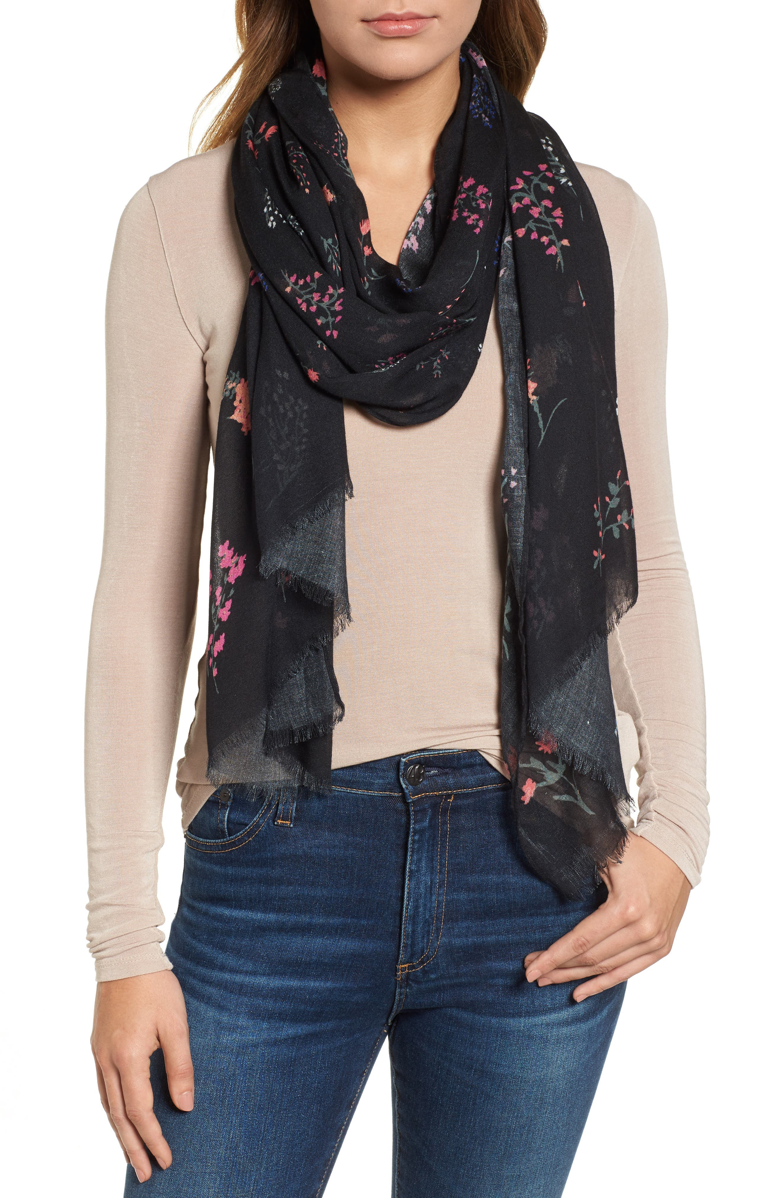 Pressed Flowers Scarf,                         Main,                         color, 001