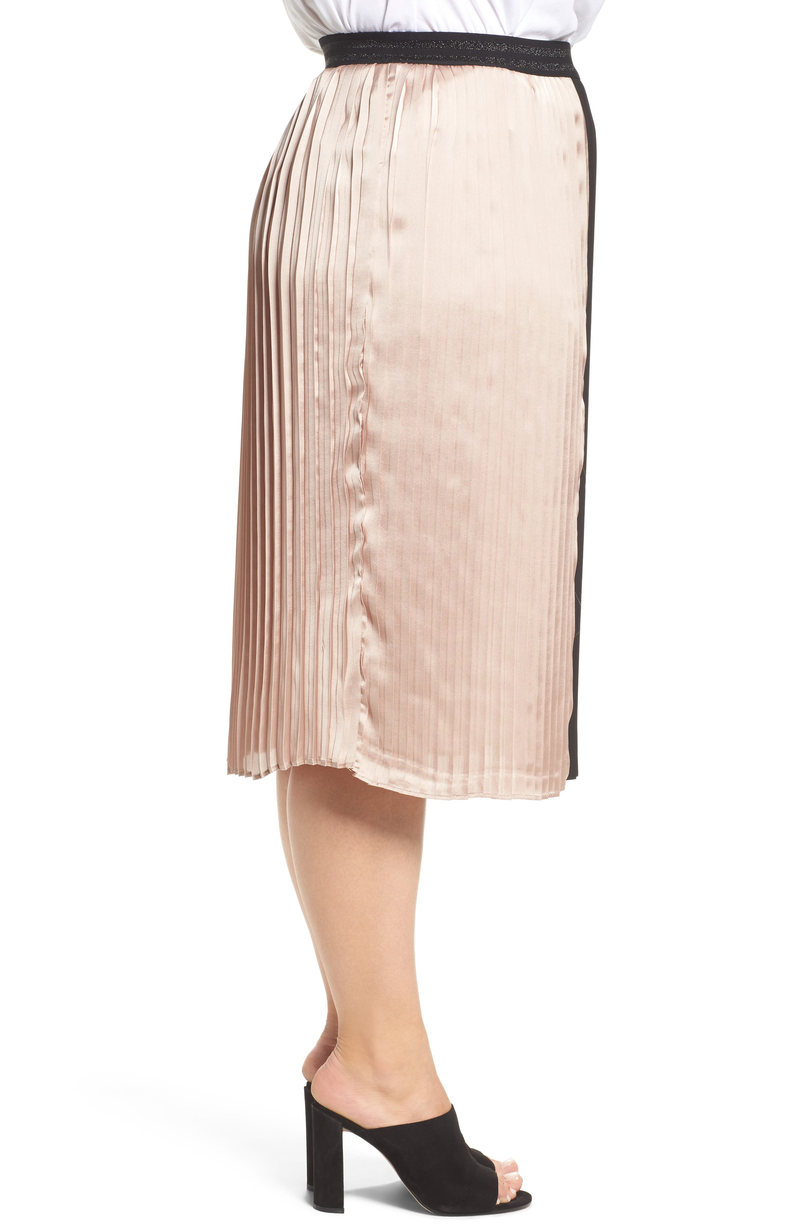 Colorblock Pleat Skirt,                             Alternate thumbnail 3, color,                             003