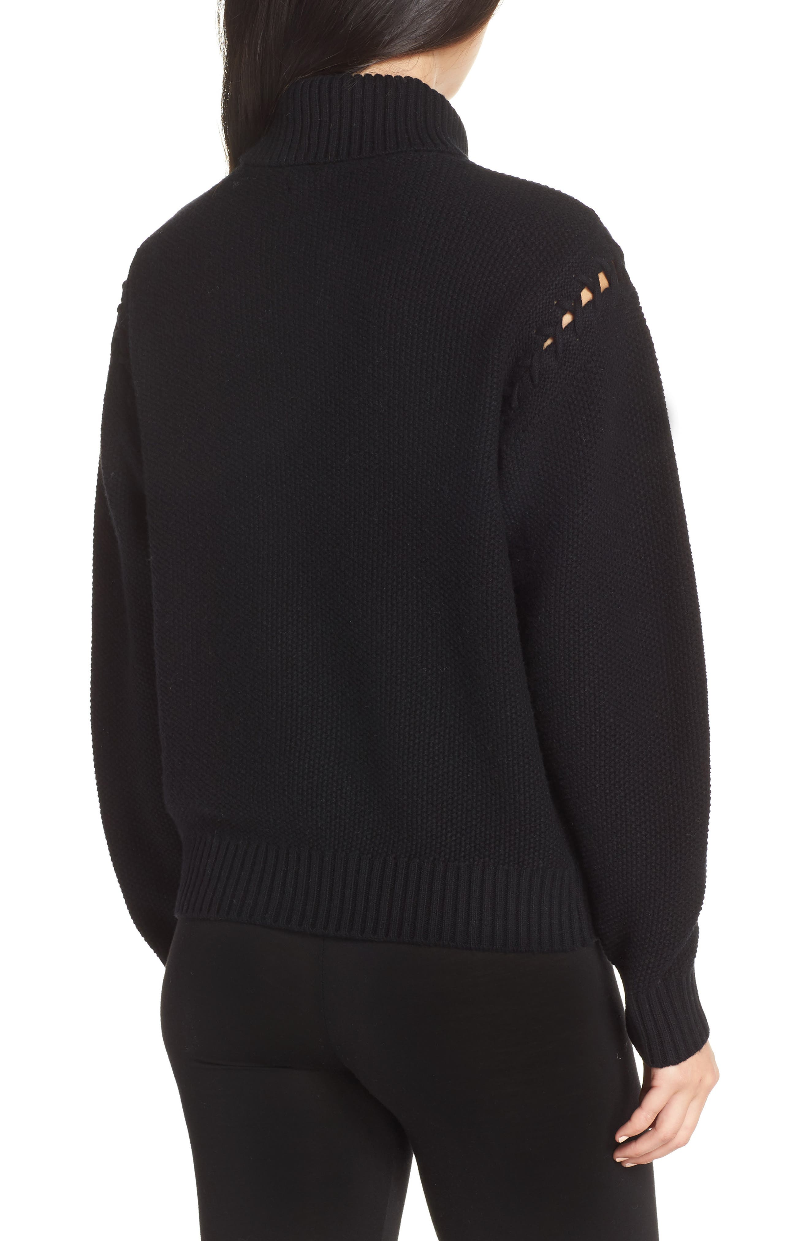 Gisele Turtleneck Sweater,                             Alternate thumbnail 2, color,                             BLACK