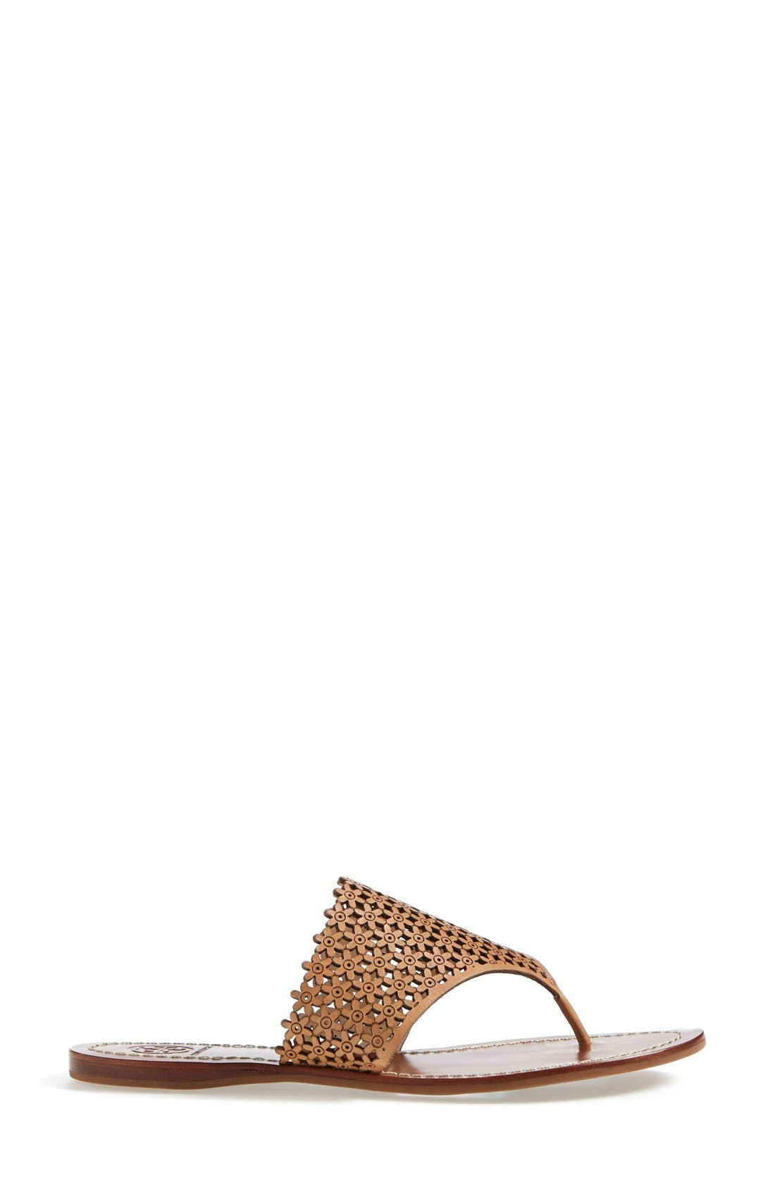 TORY BURCH,                             'Daisy' Perforated Sandal,                             Alternate thumbnail 3, color,                             671