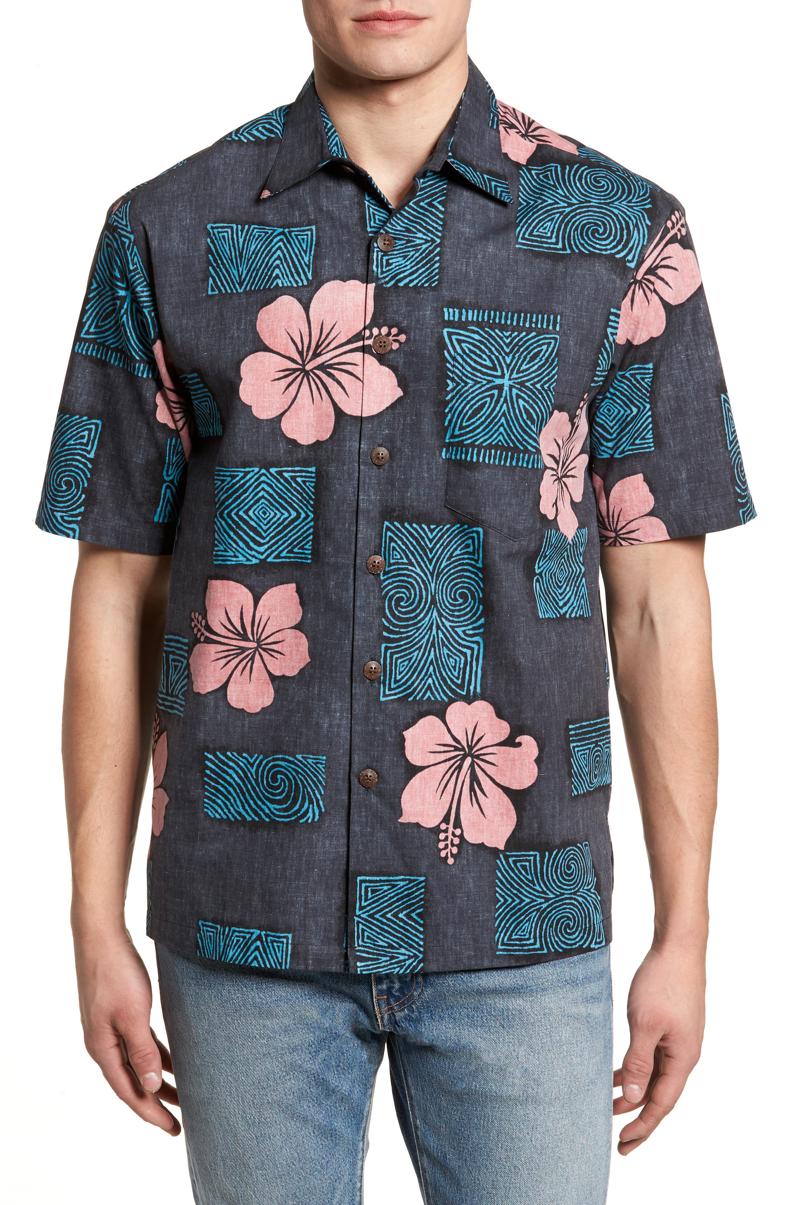 Tiki Room Standard Fit Camp Shirt,                         Main,                         color, 001