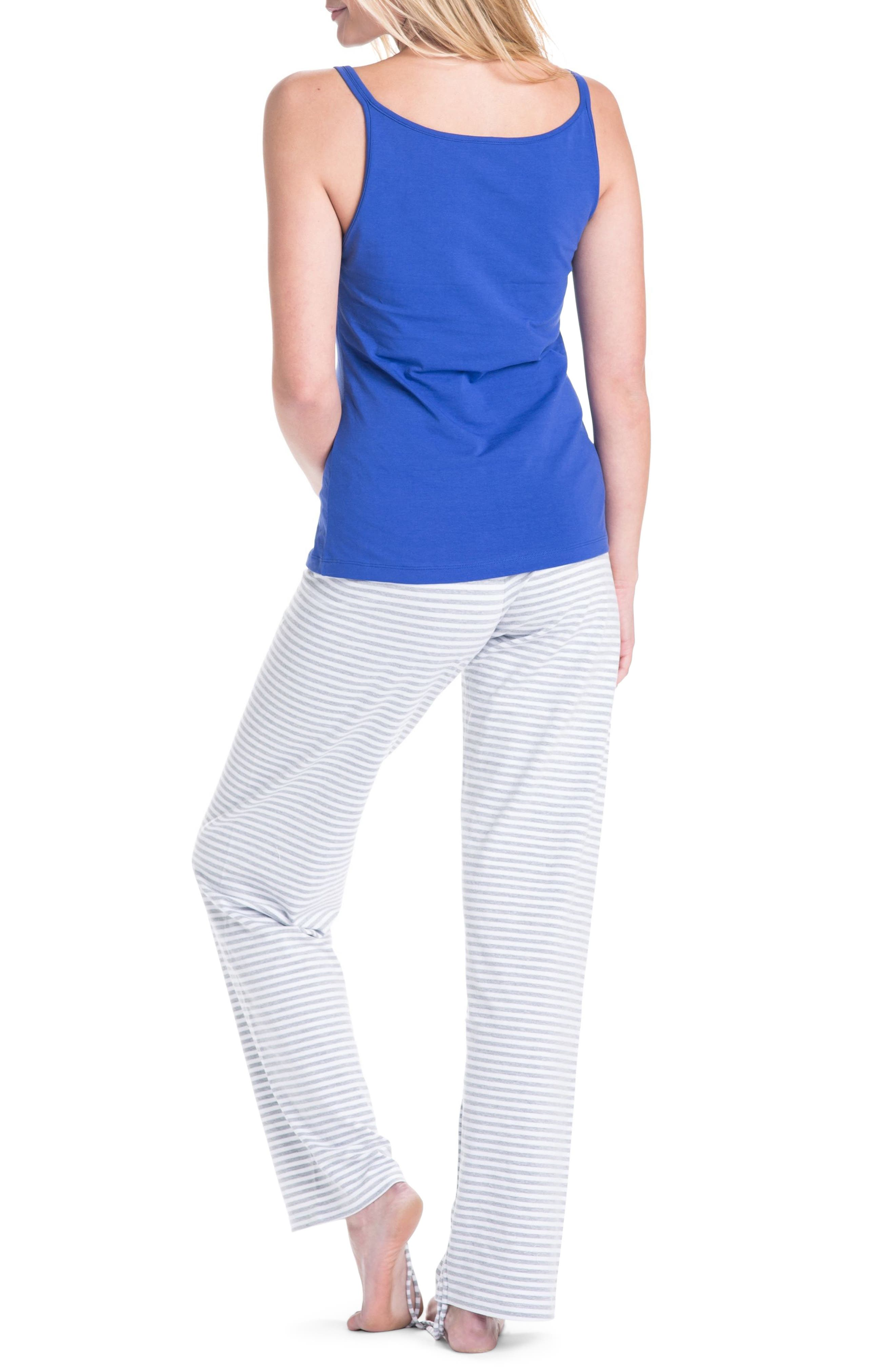 Trudy Super Mom Maternity/Nursing Pajamas,                             Alternate thumbnail 2, color,                             NAVY BLUE/ GRAY/ WHITE STRIPES