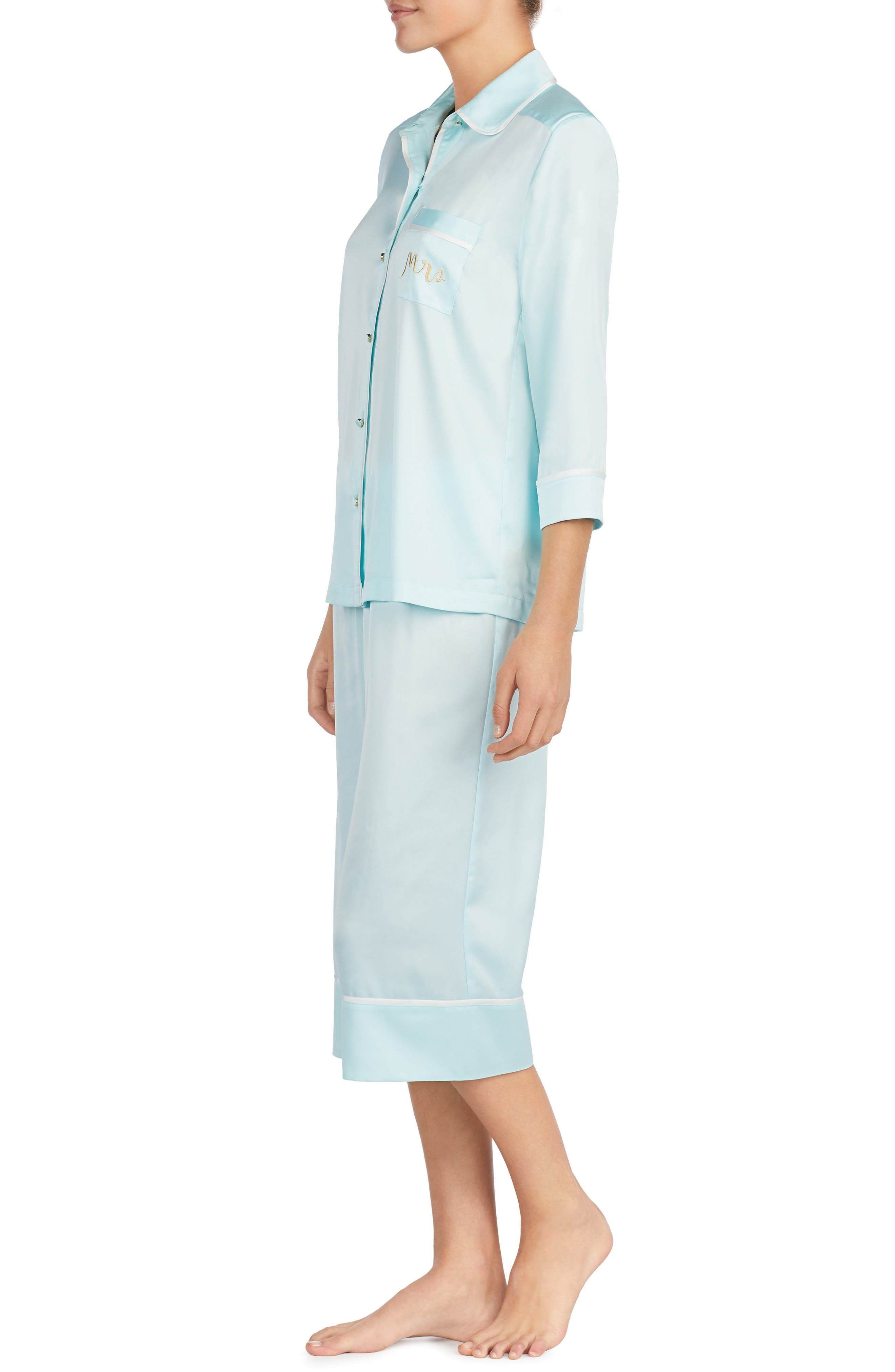 mrs charmeuse crop pajamas,                             Alternate thumbnail 3, color,