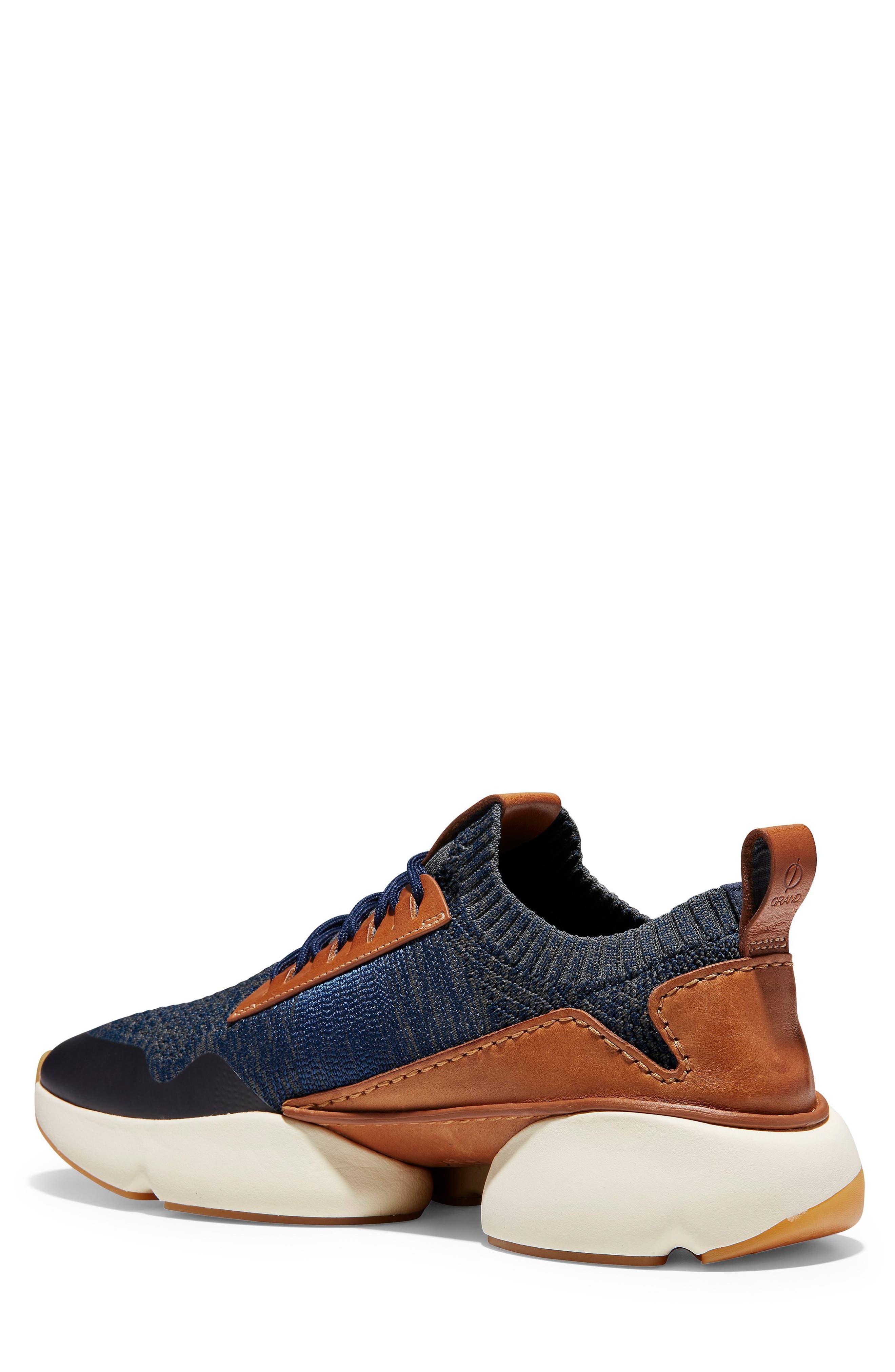 ZeroGrand All-Day Trainer Sneaker,                             Alternate thumbnail 2, color,                             MARINE BLUE/ TAN KNIT