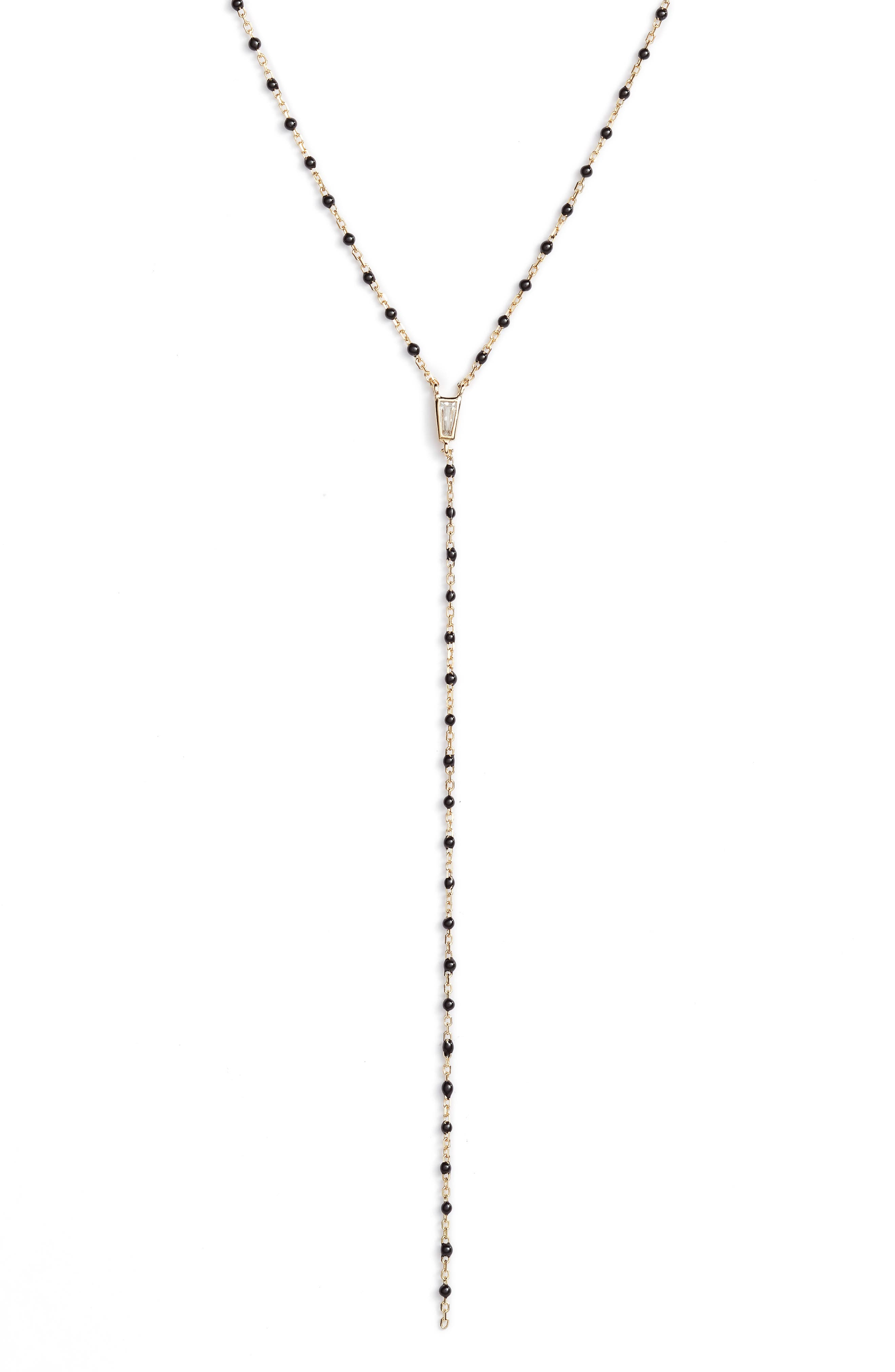 Beaded Lariat Necklace,                             Alternate thumbnail 2, color,                             GOLD/ BLACK