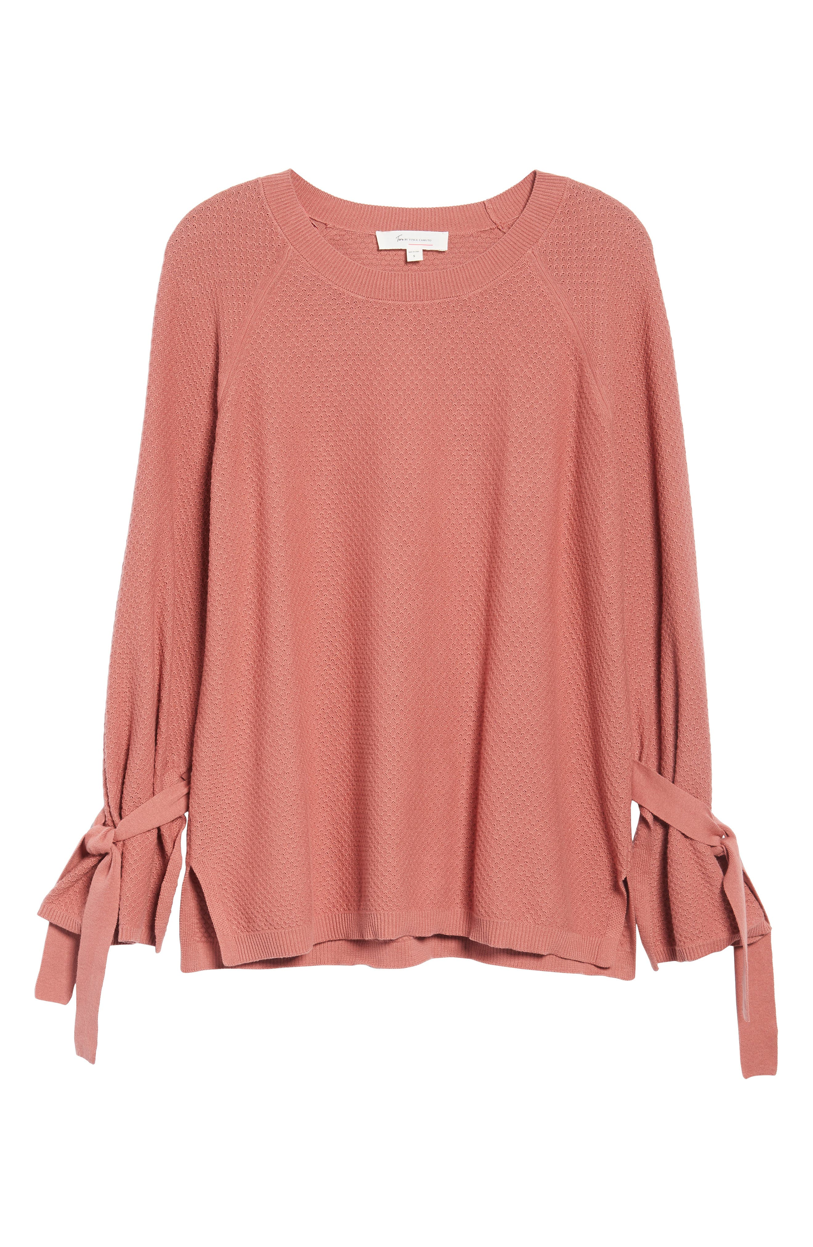 Texture Stitch Tie-Sleeve Top,                             Alternate thumbnail 18, color,