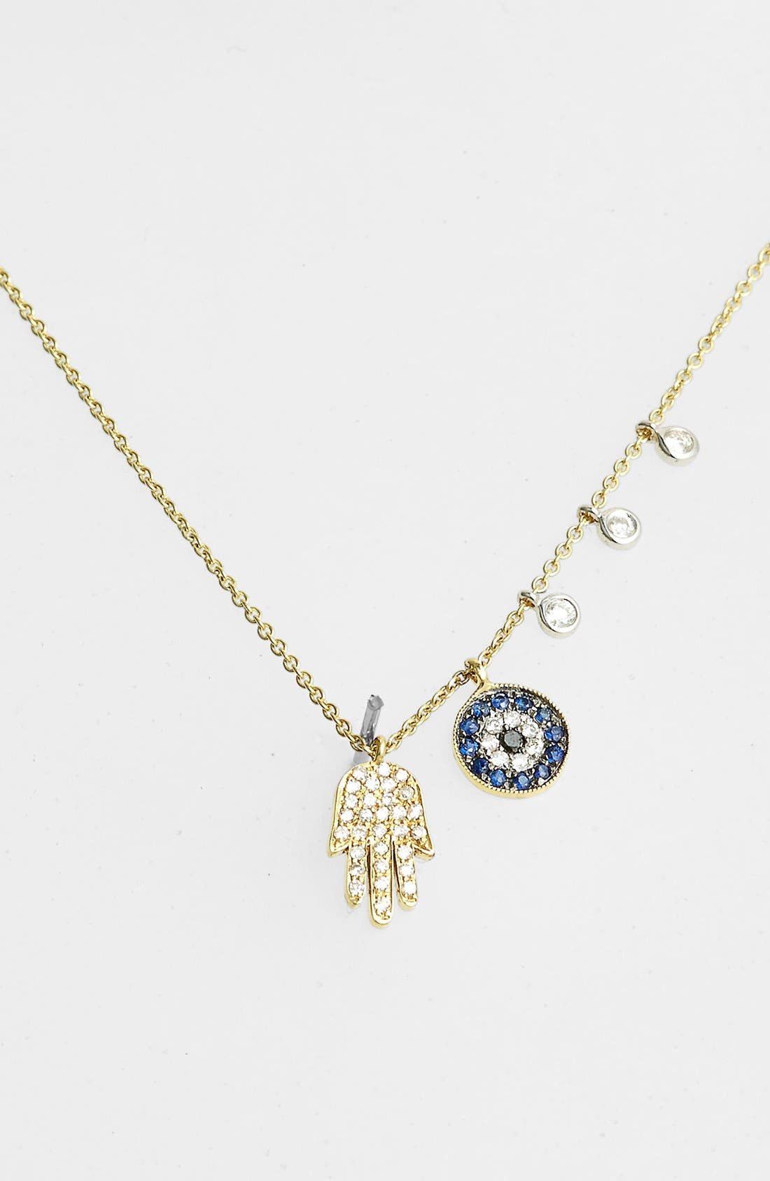 Desert Infusion Diamond & Sapphire Pendant Necklace,                         Main,                         color, YELLOW GOLD/ BLUE SAPPHIRE