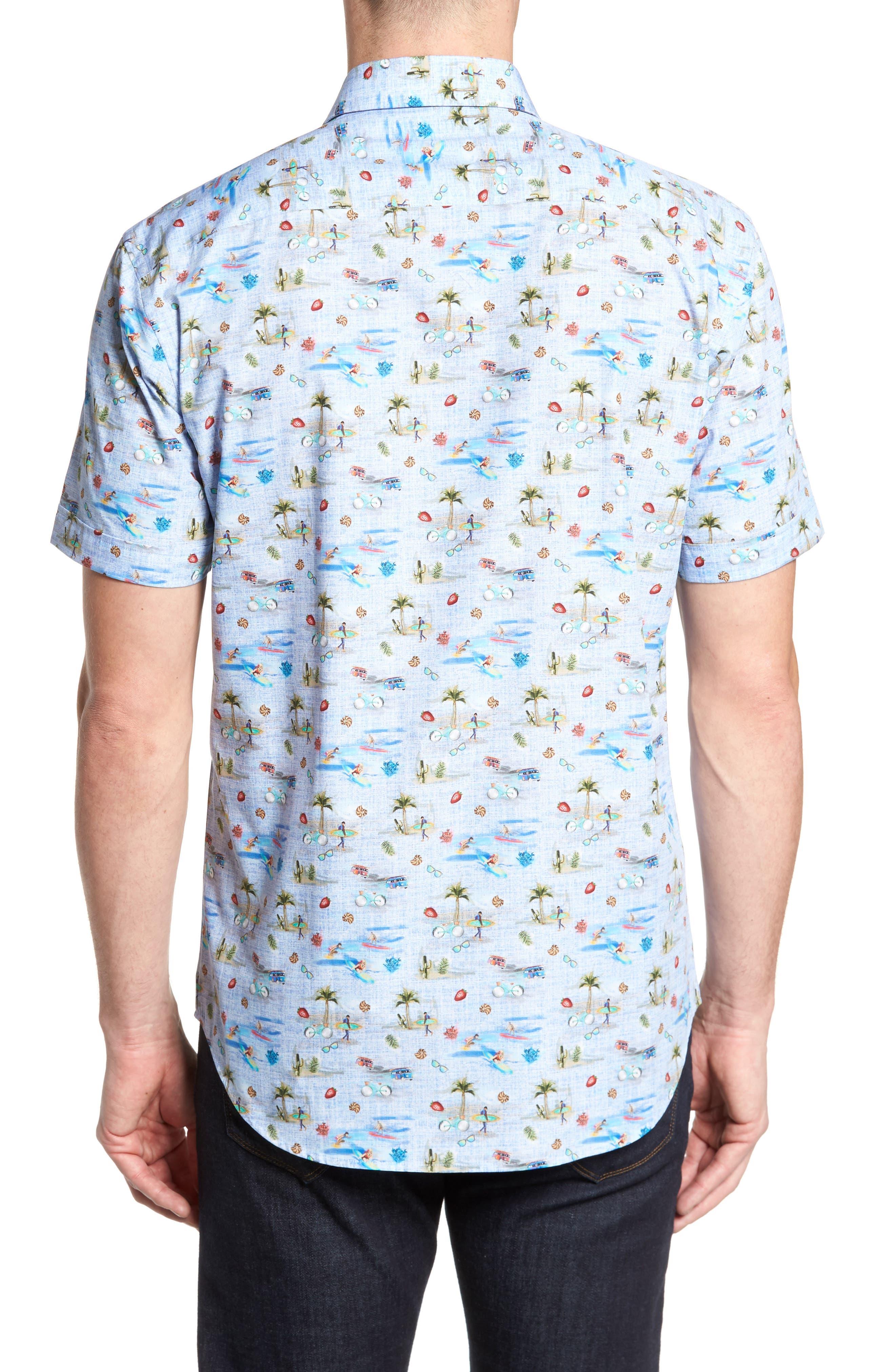 Buatchi Shaped Fit Print Sport Shirt,                             Alternate thumbnail 2, color,                             423
