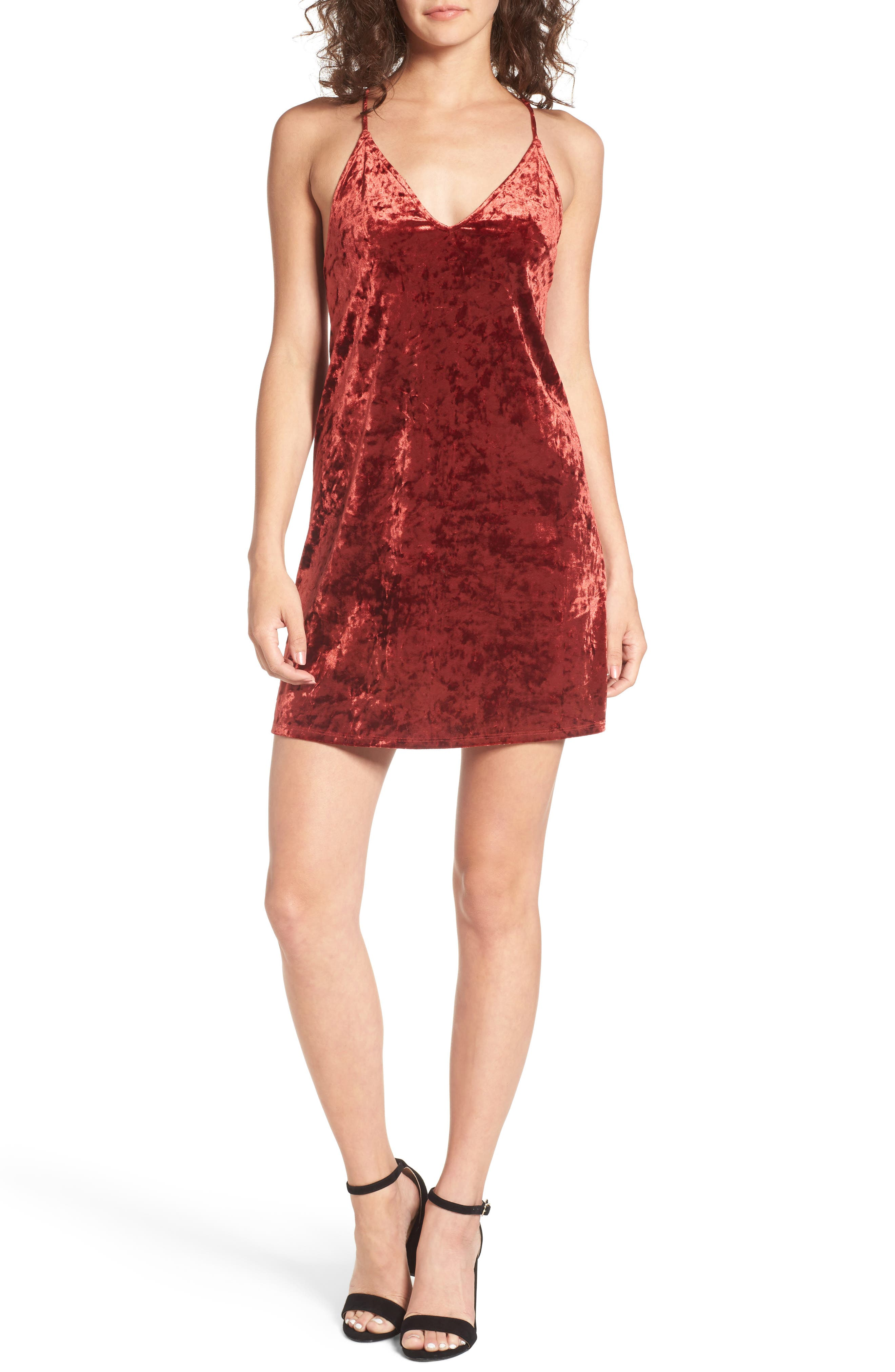 Raymore Crushed Velvet Minidress,                             Main thumbnail 1, color,