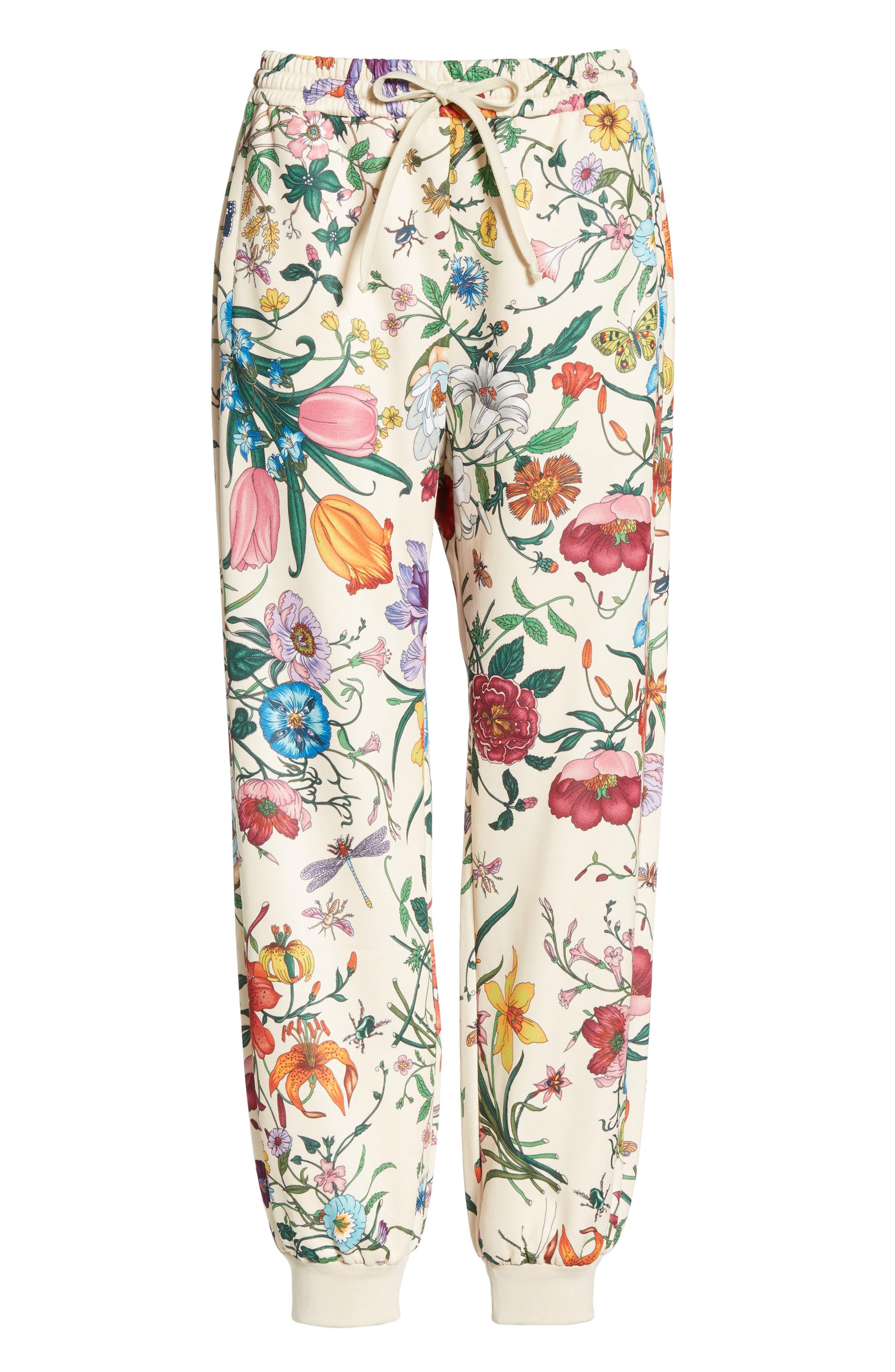 Floral Print Tech Jersey Track Pants,                             Alternate thumbnail 3, color,                             9381 IVORY/ MULTICOLOR