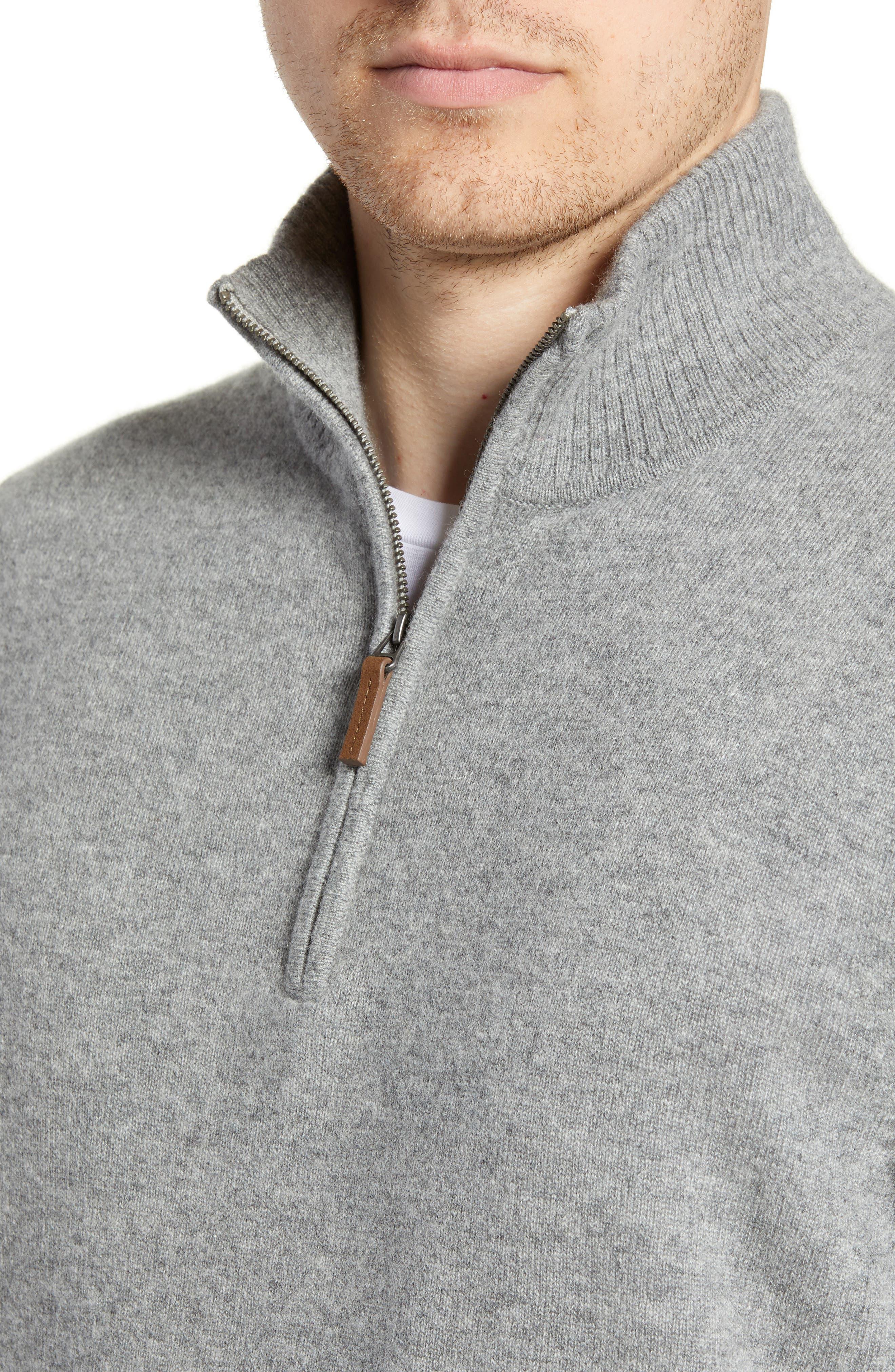 Regular Fit Cashmere Quarter Zip Pullover,                             Alternate thumbnail 4, color,                             GREY DRIFTWOOD