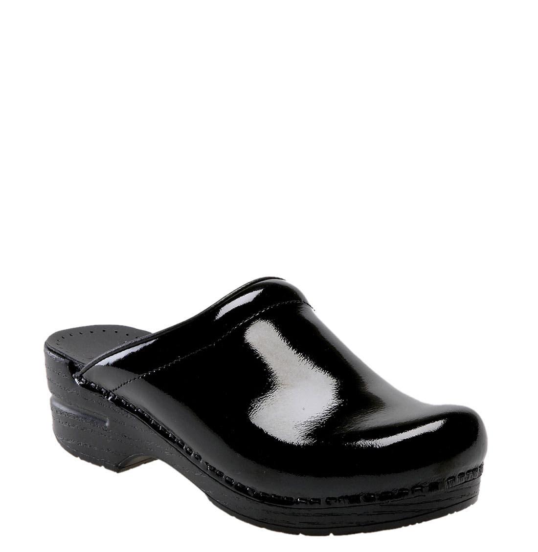 'Sonja' Patent Leather Clog,                             Main thumbnail 1, color,                             BLACK PATENT