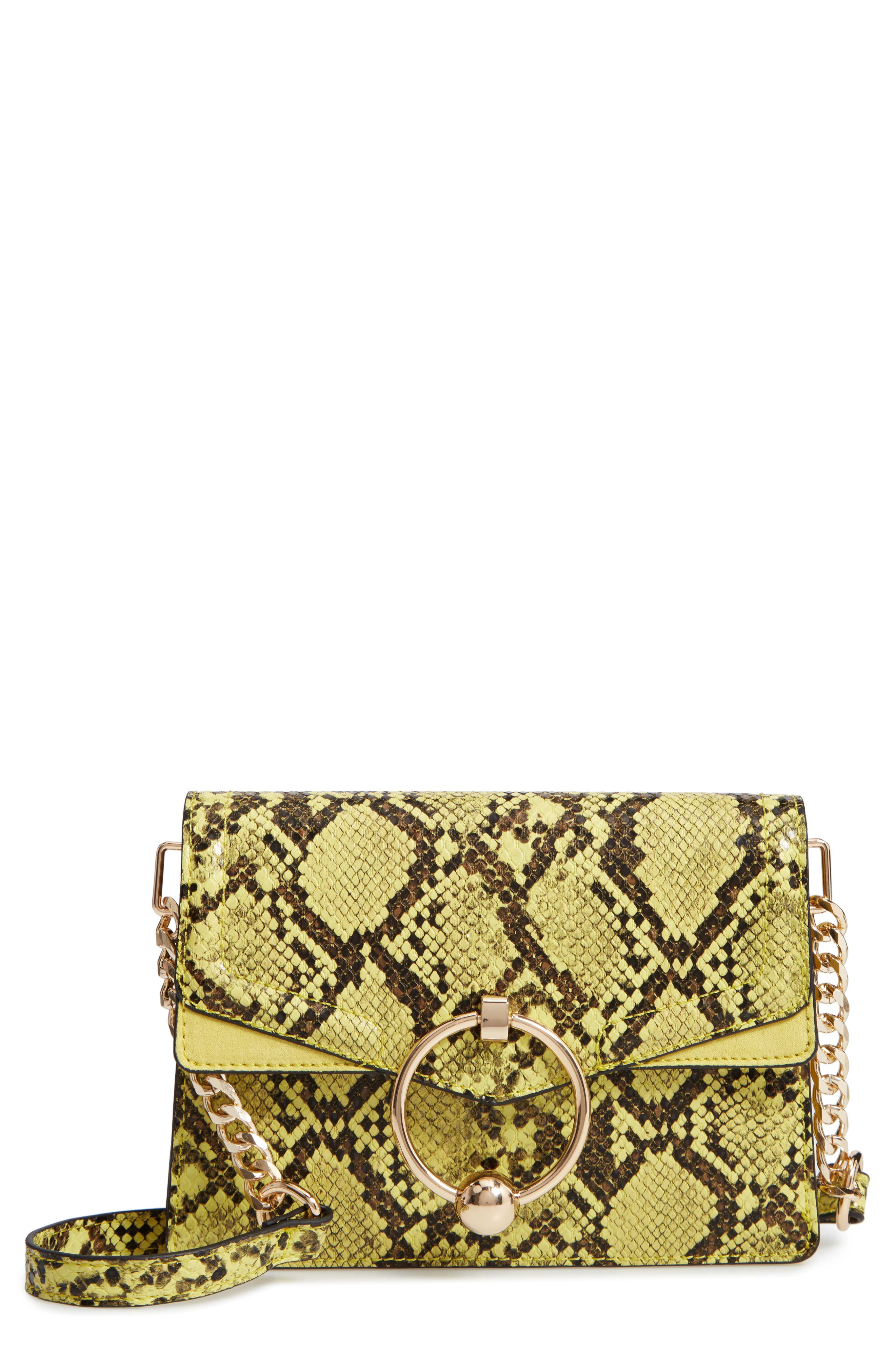 Selina Snake Effect Crossbody Bag,                         Main,                         color, YELLOW MULTI