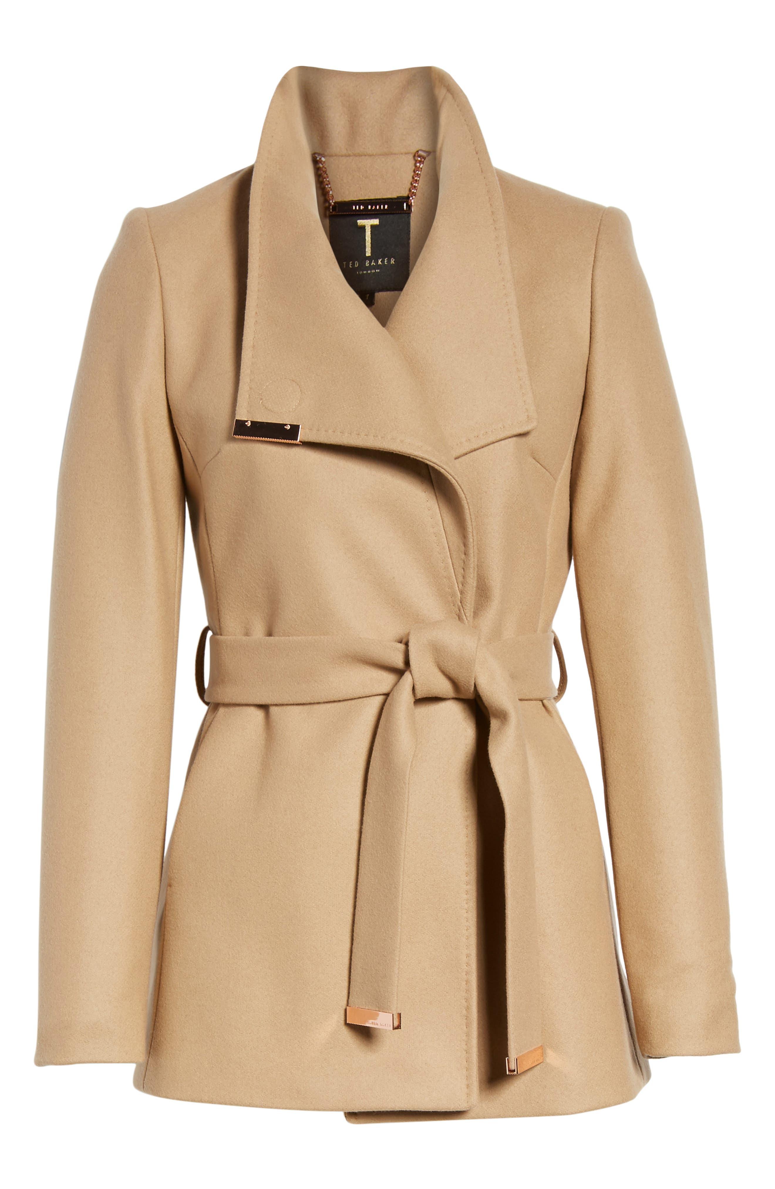 Wool Blend Short Wrap Coat,                             Alternate thumbnail 5, color,                             271