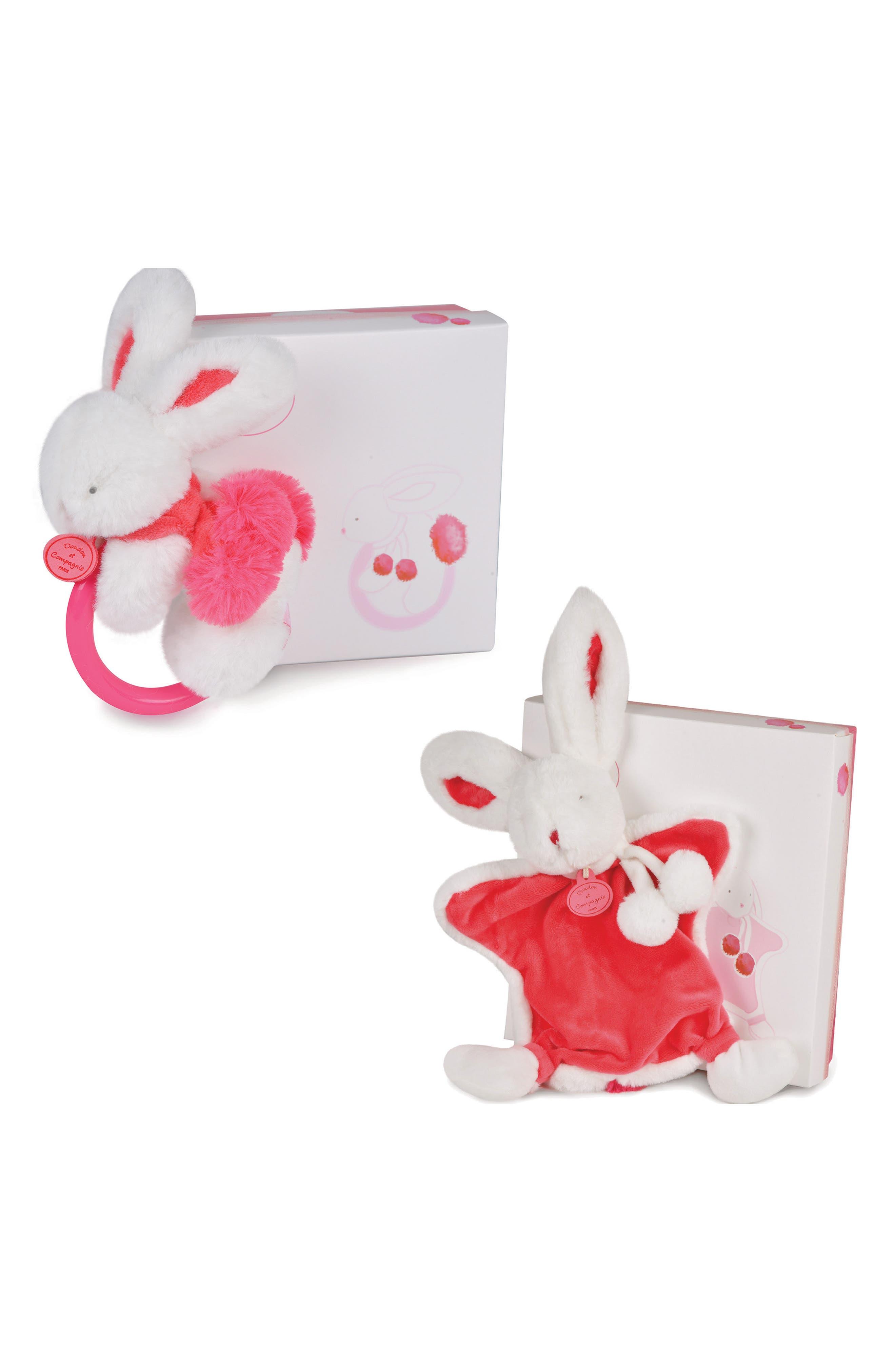 Strawberry Pink Bunny Rattle & Lovie Blanket Gift Set,                         Main,                         color, 650