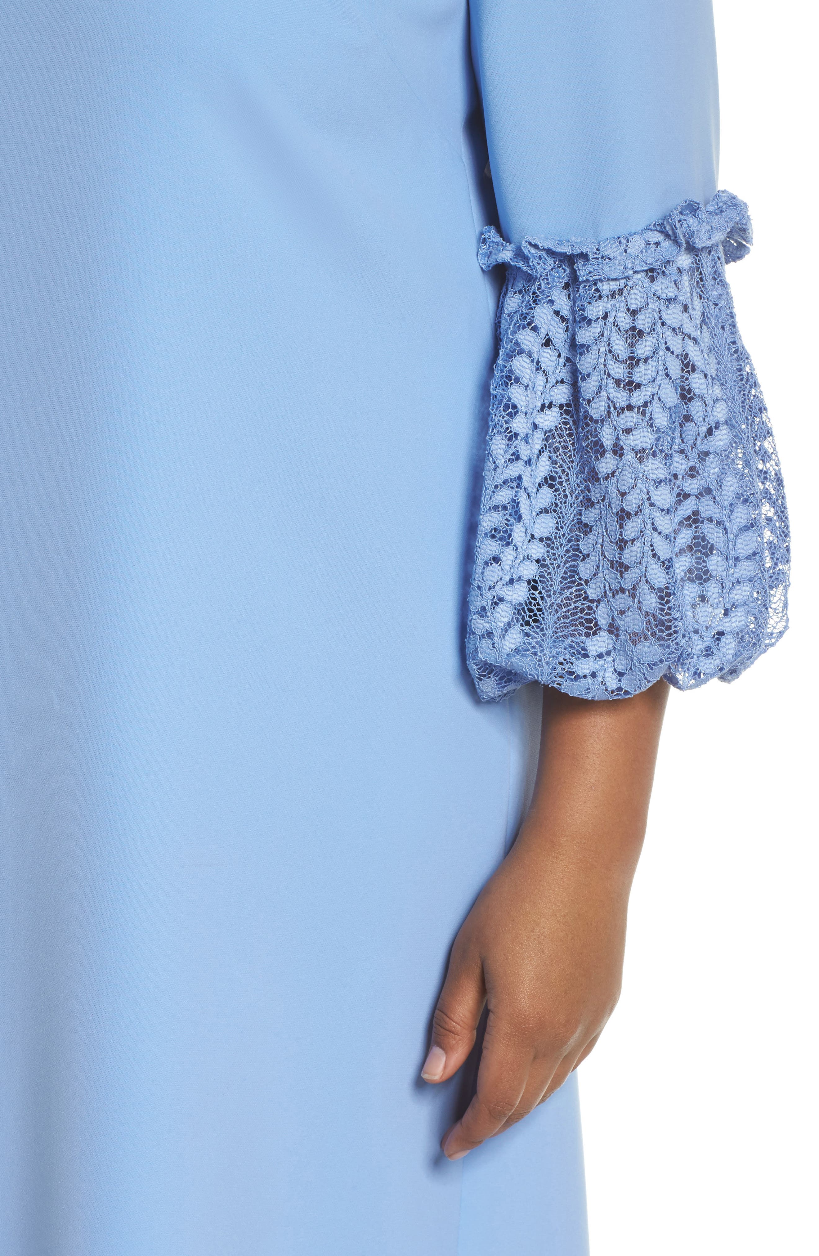 Lace Bell Sleeve Shift Dress,                             Alternate thumbnail 4, color,