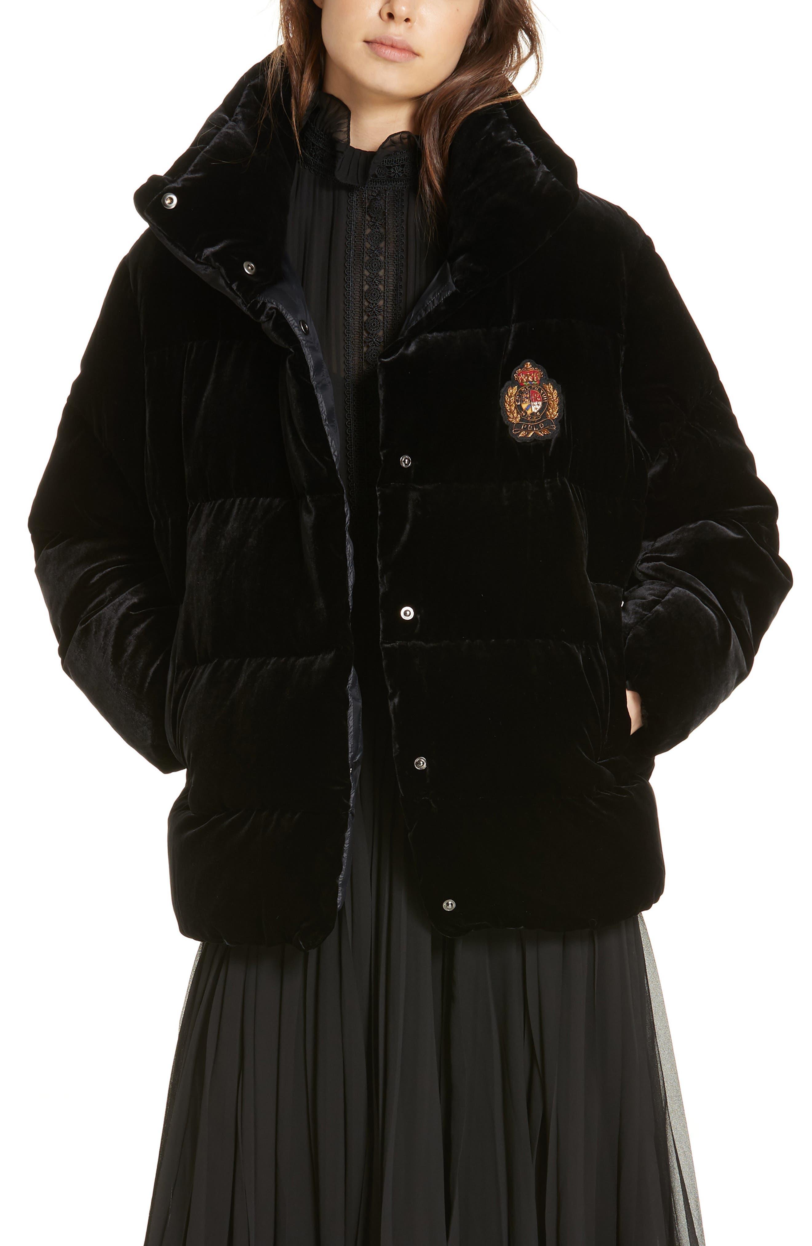 POLO RALPH LAUREN Velvet Down Jacket, Main, color, 001