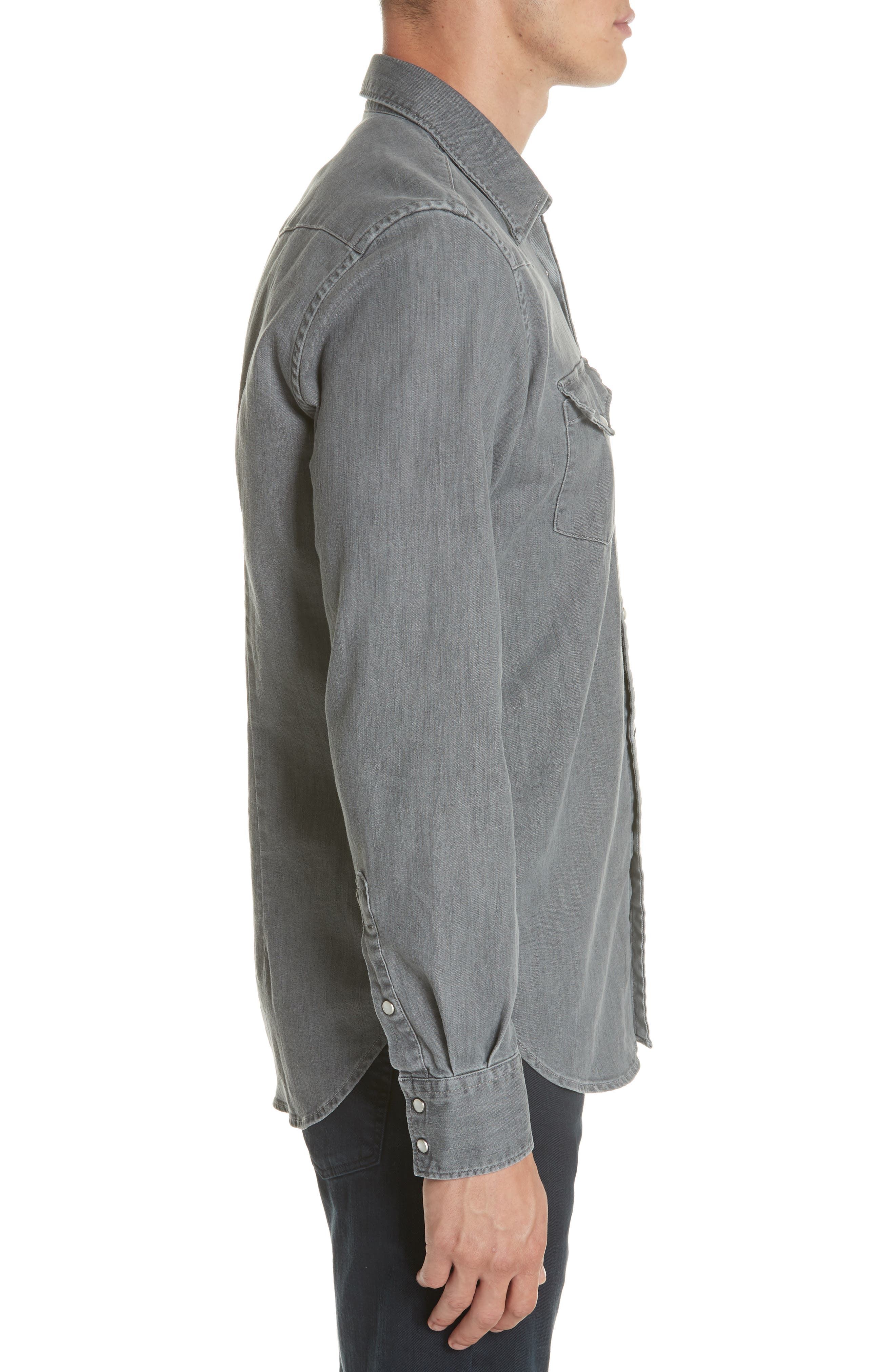 Slim Fit Denim Western Shirt,                             Alternate thumbnail 3, color,                             GREY